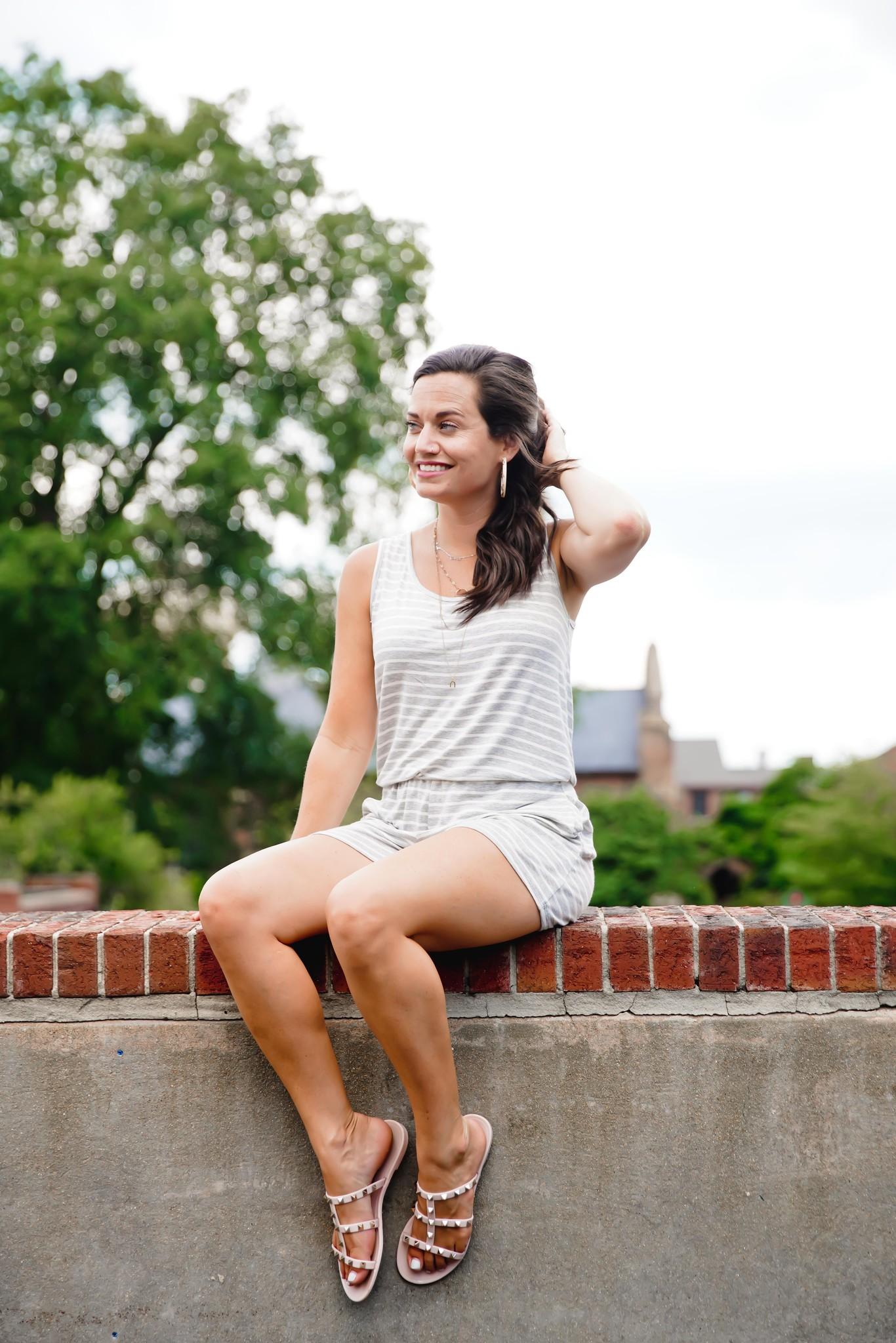 Heather Grey Sleeveless Stripe Romper W/Tie Back Detail