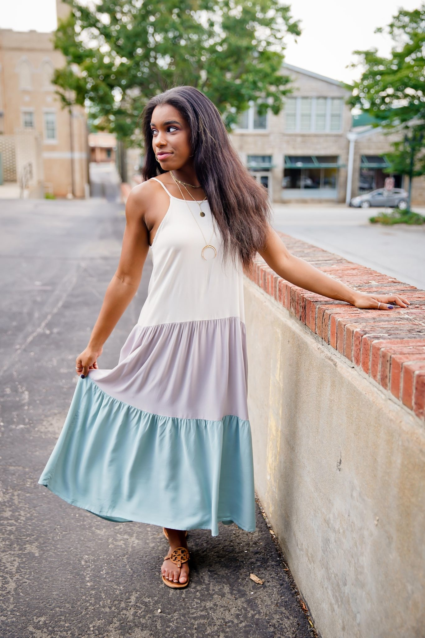 Natural/Gray Color Block Tiered Dress
