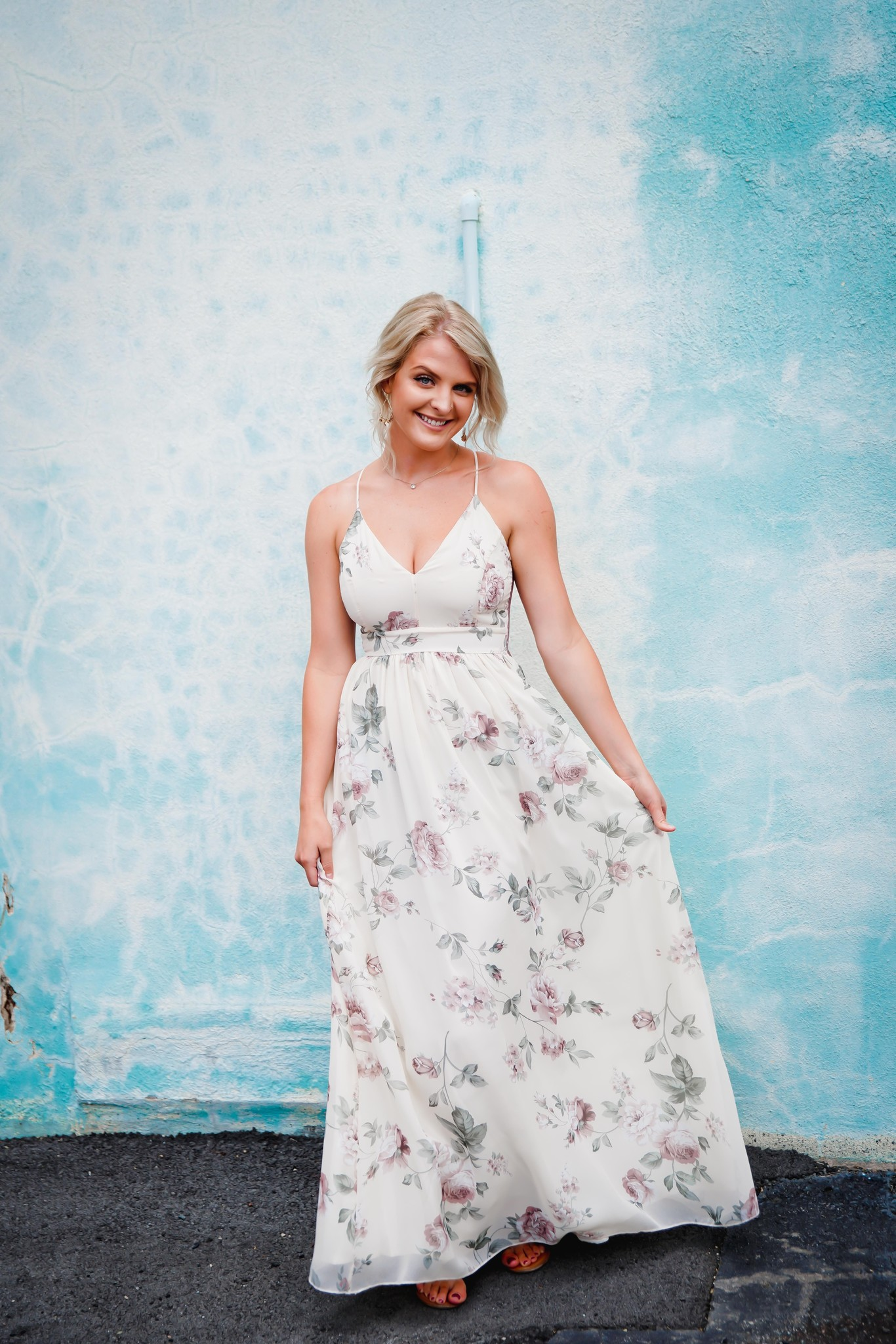Cream Floral Print Halter Maxi Dress