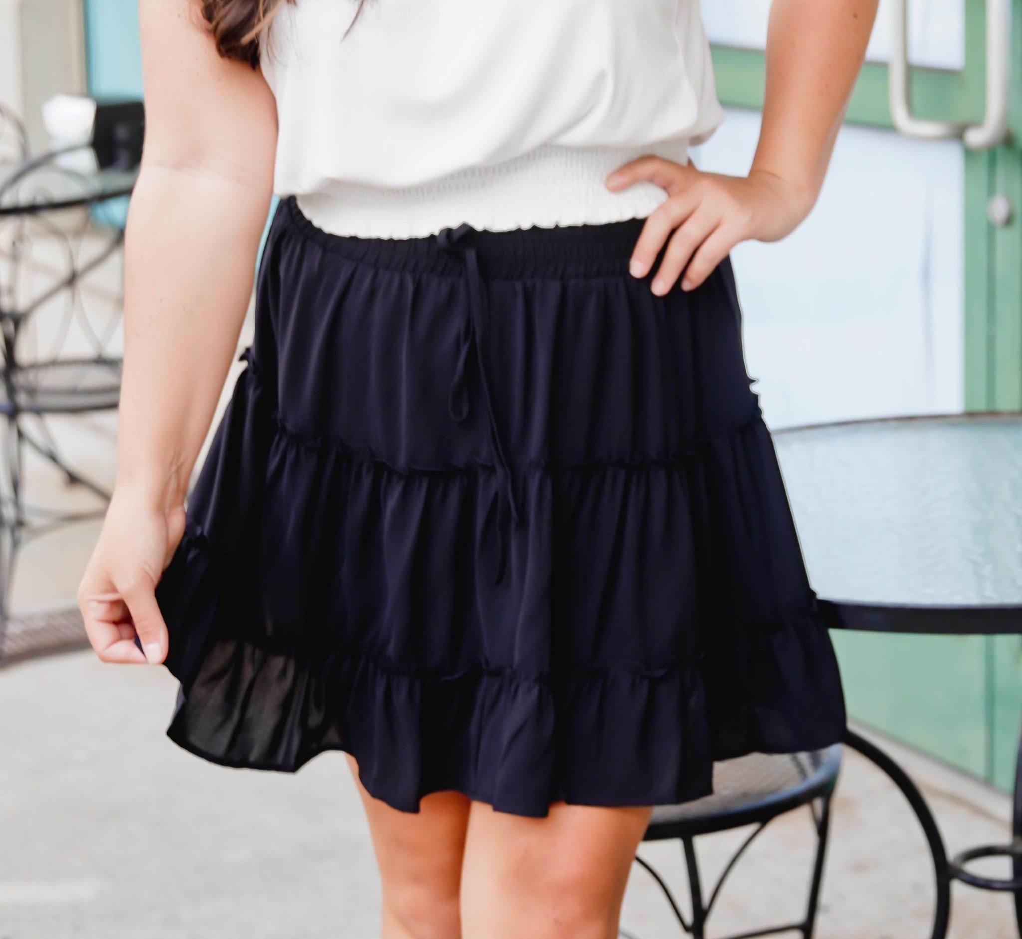 Black High Waisted Tiered Skirt