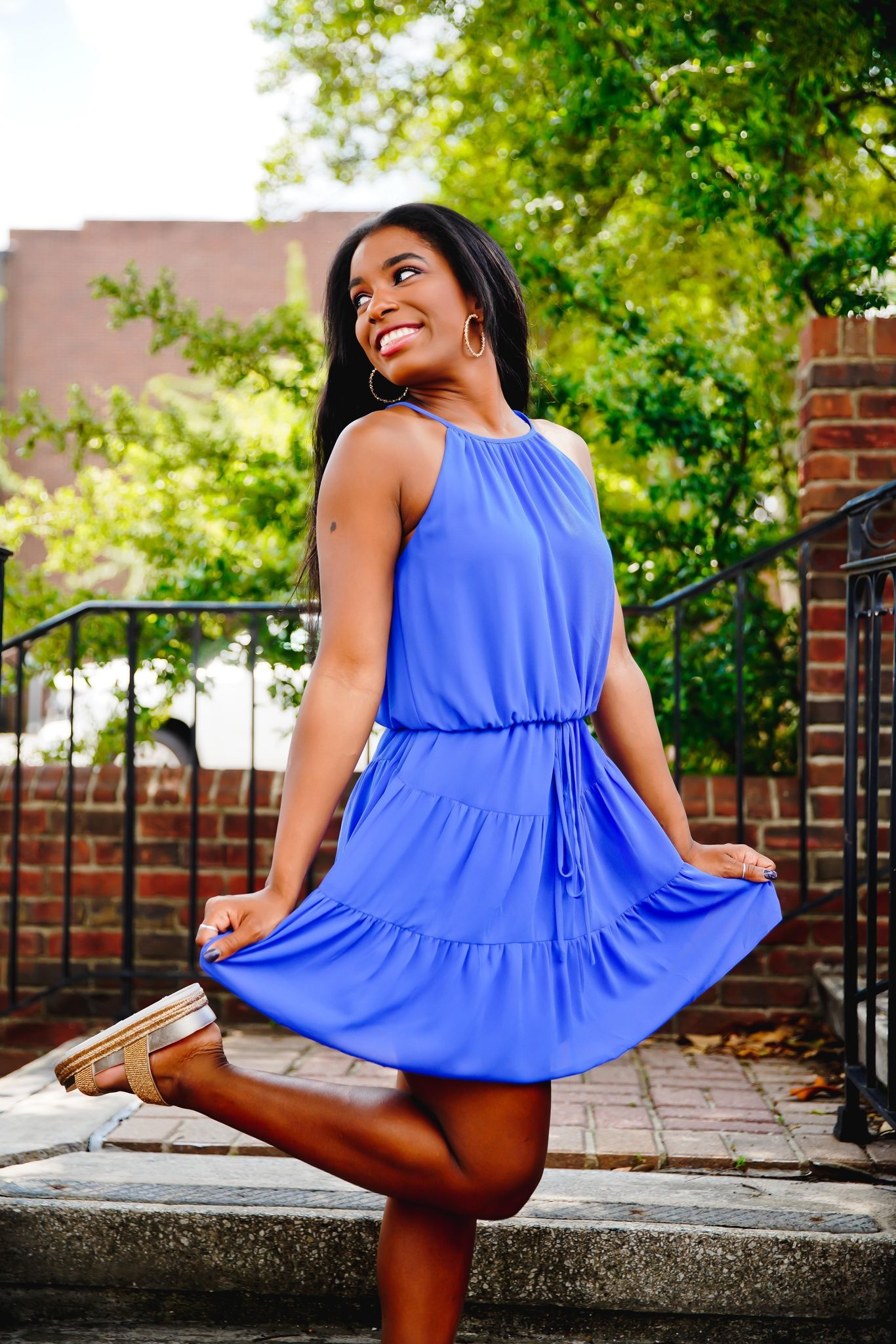 Royal Blue Halter Tiered Dress
