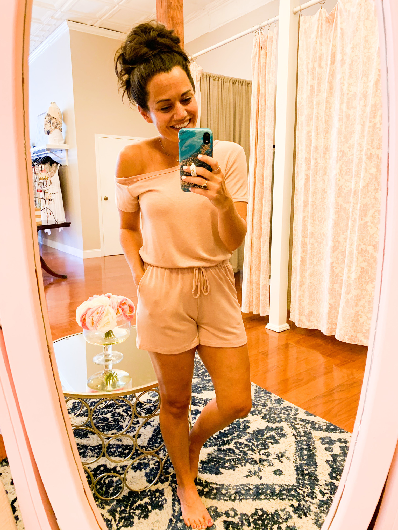 Nude Open Shoulder Short Sleeve Romper