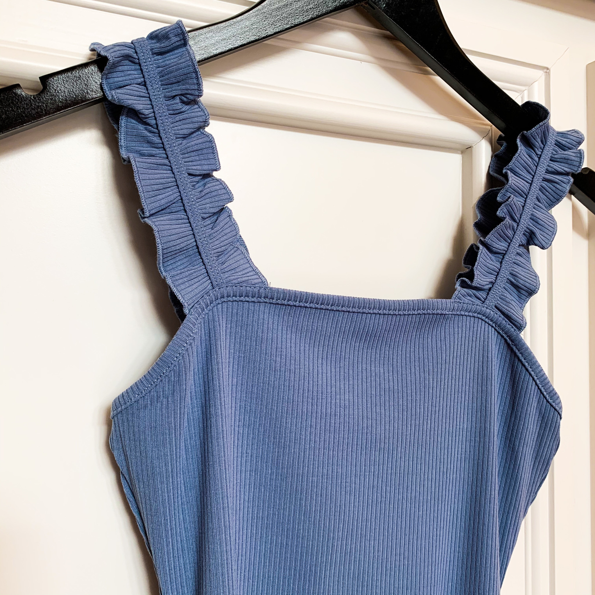 Denim Ruffle Strap Bodysuit