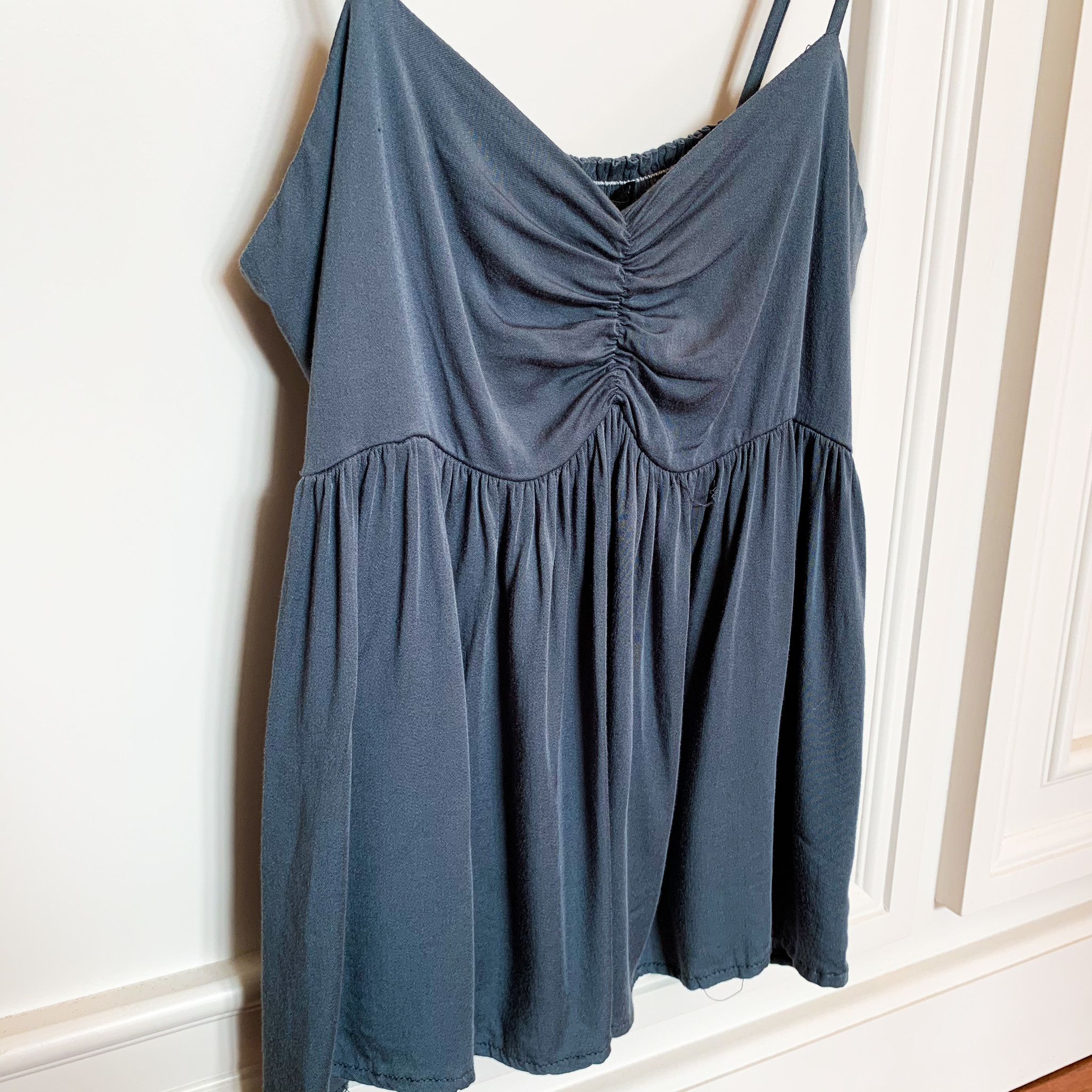 Dusty Denim Sweetheart Neckline Tank Top