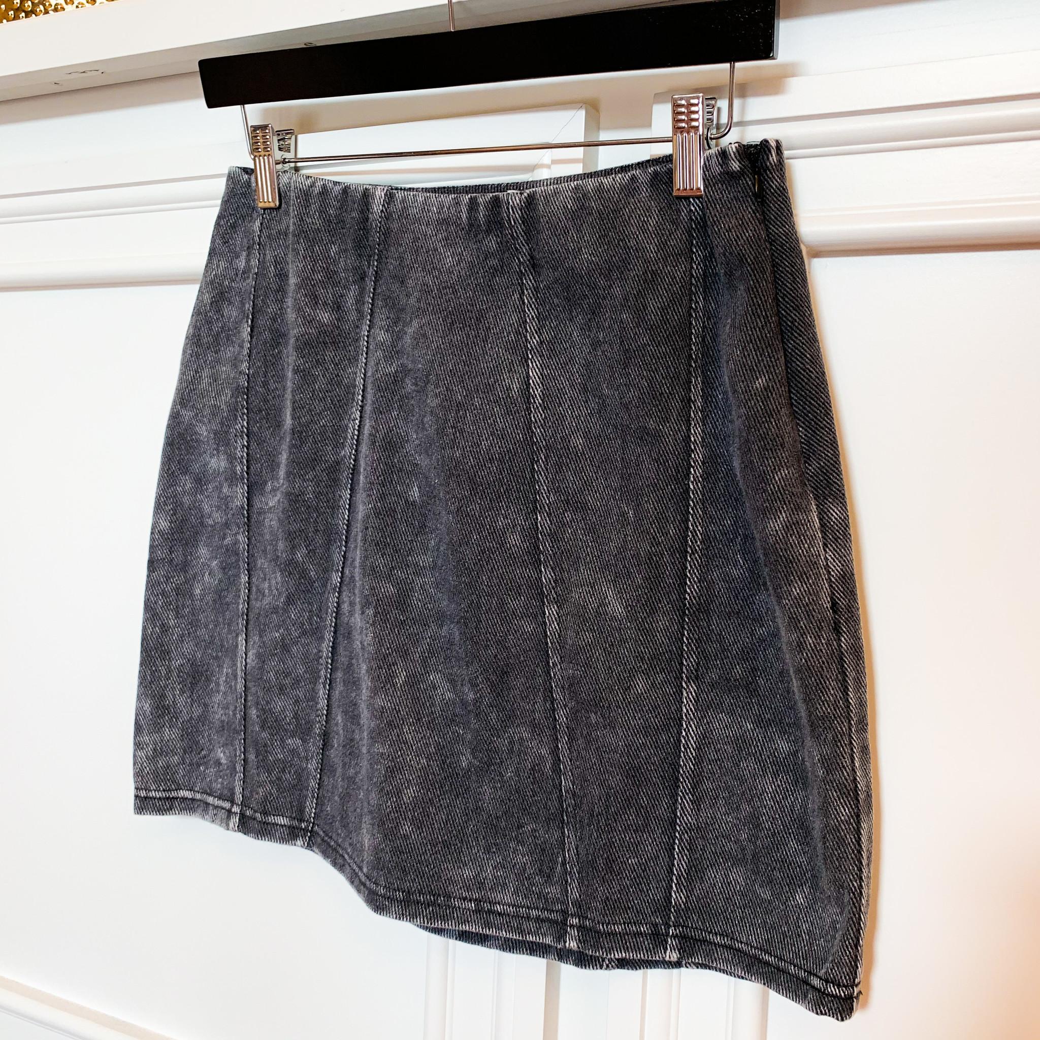 Black Acid Wash Denim Skirt