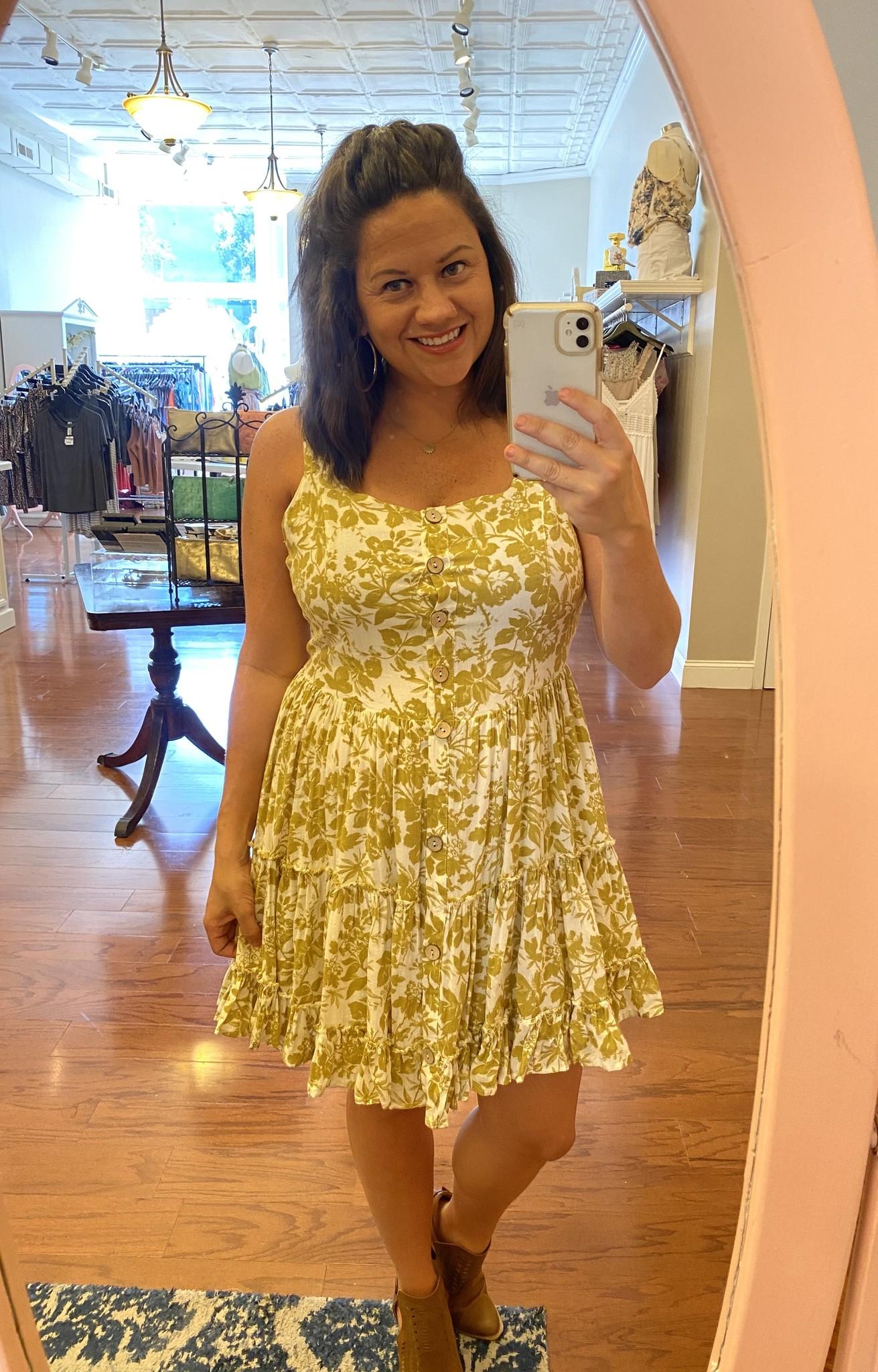 Mustard Floral Sun Dress