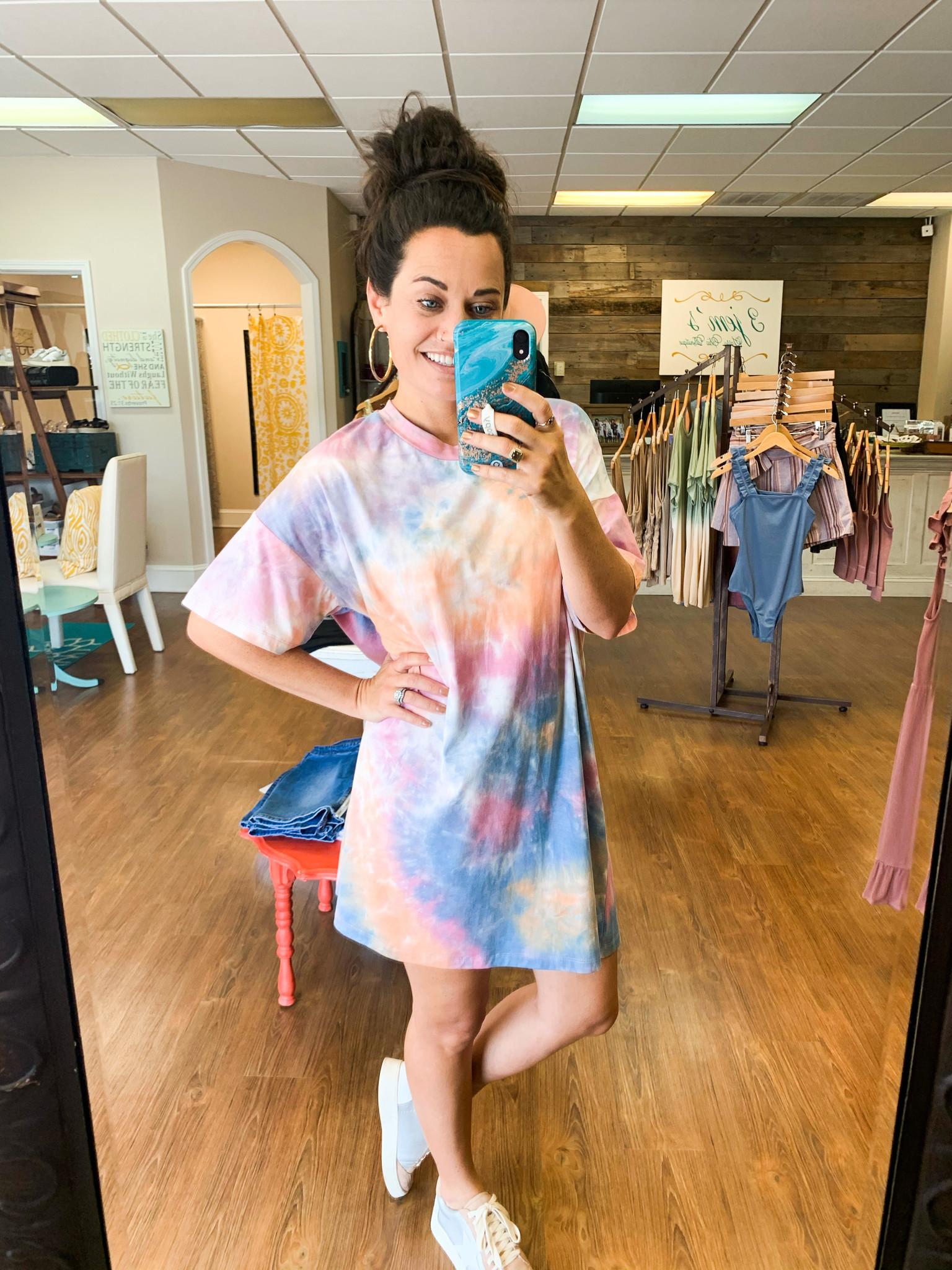 Tie Dye Boxy Boyfriend T-Shirt Dress