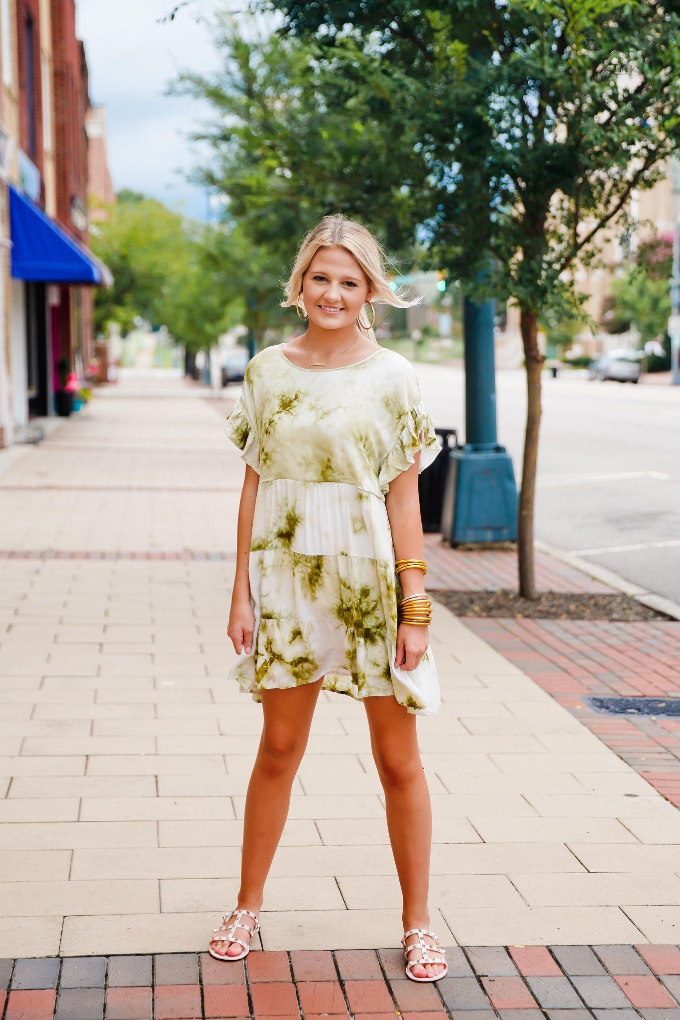 Sage Tie Dye Mini Dress
