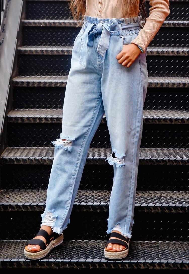 Elastic Waist Paper Bag Mom Jeans