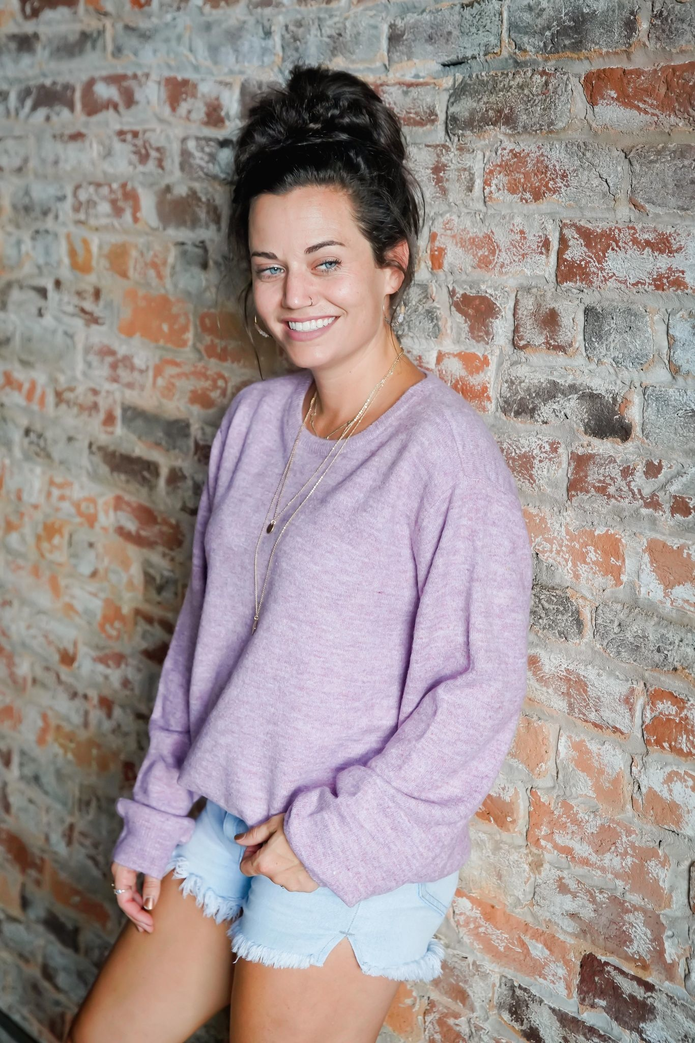 Lilac Soft Knit Pullover Sweater Top