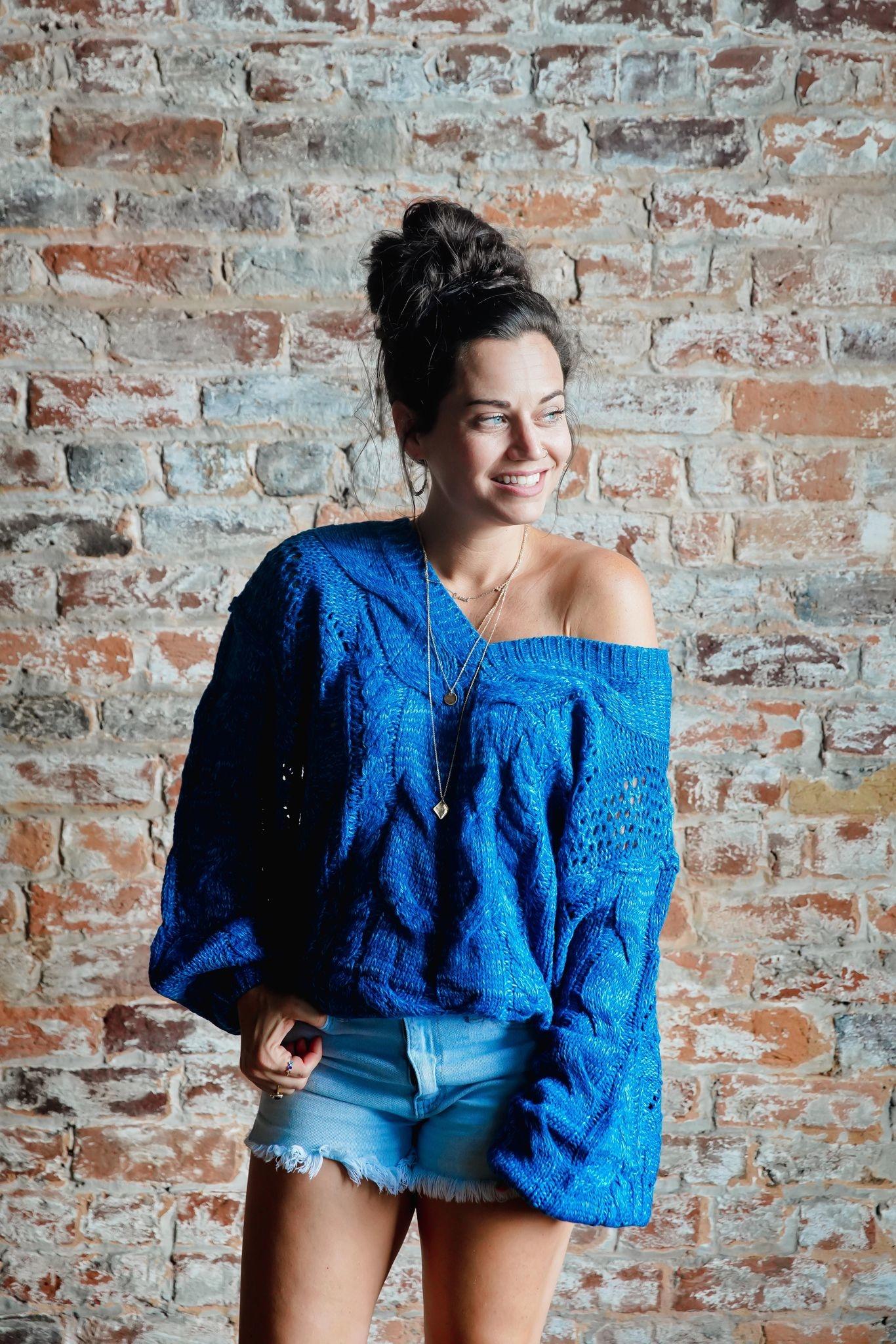 Aqua Sky Off Shoulder Cable Knit Sweater Top
