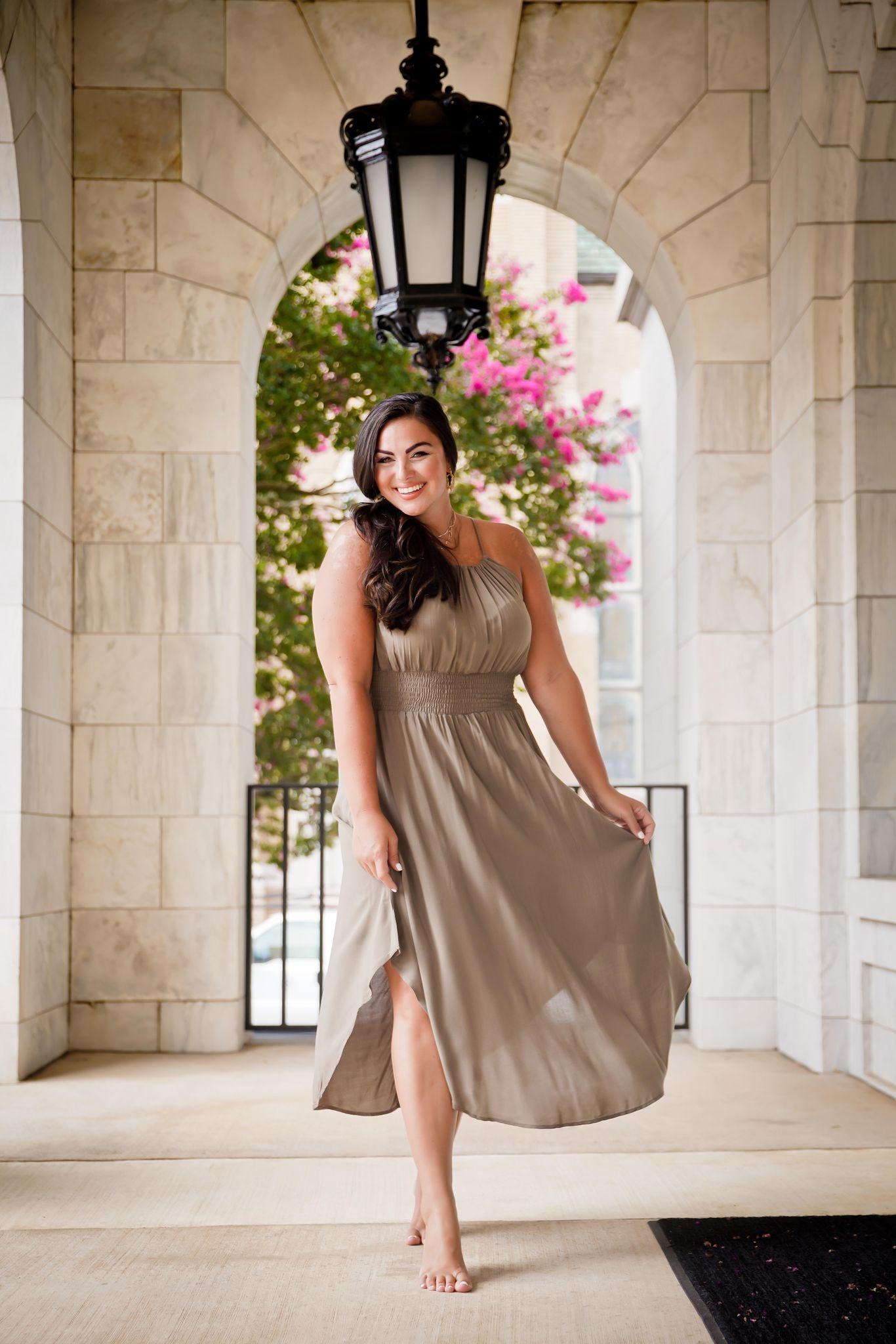 Olive Smocked Waist Midi Length Dress