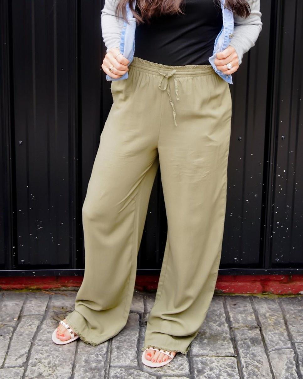 Olive Drawstring Waist Wide Leg Pants