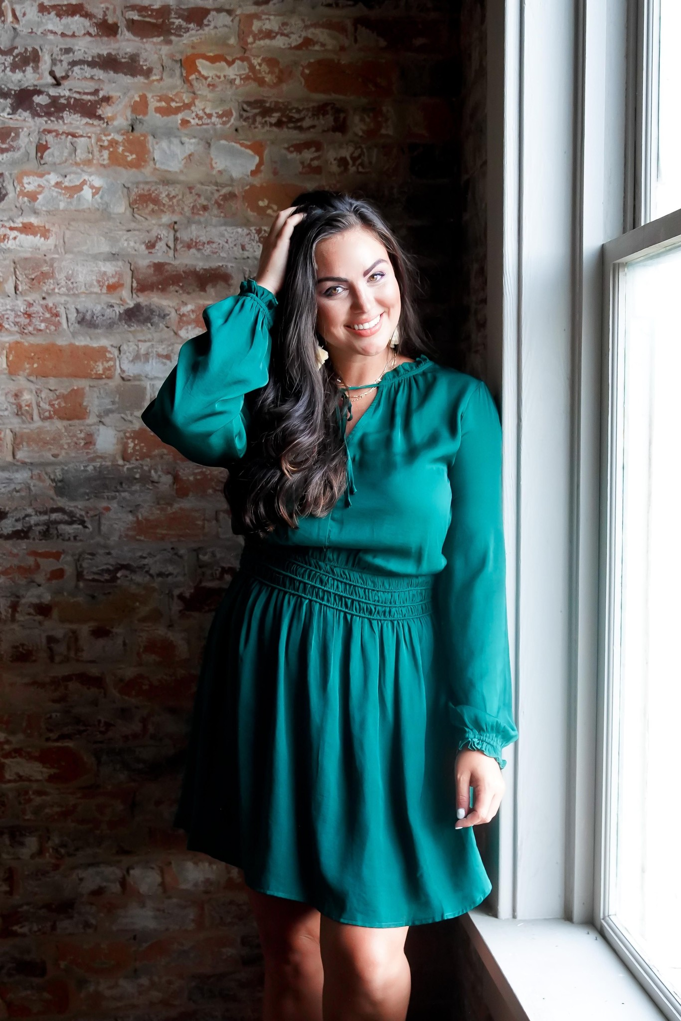 Hunter Green Long Sleeve Smocked Mini Dress