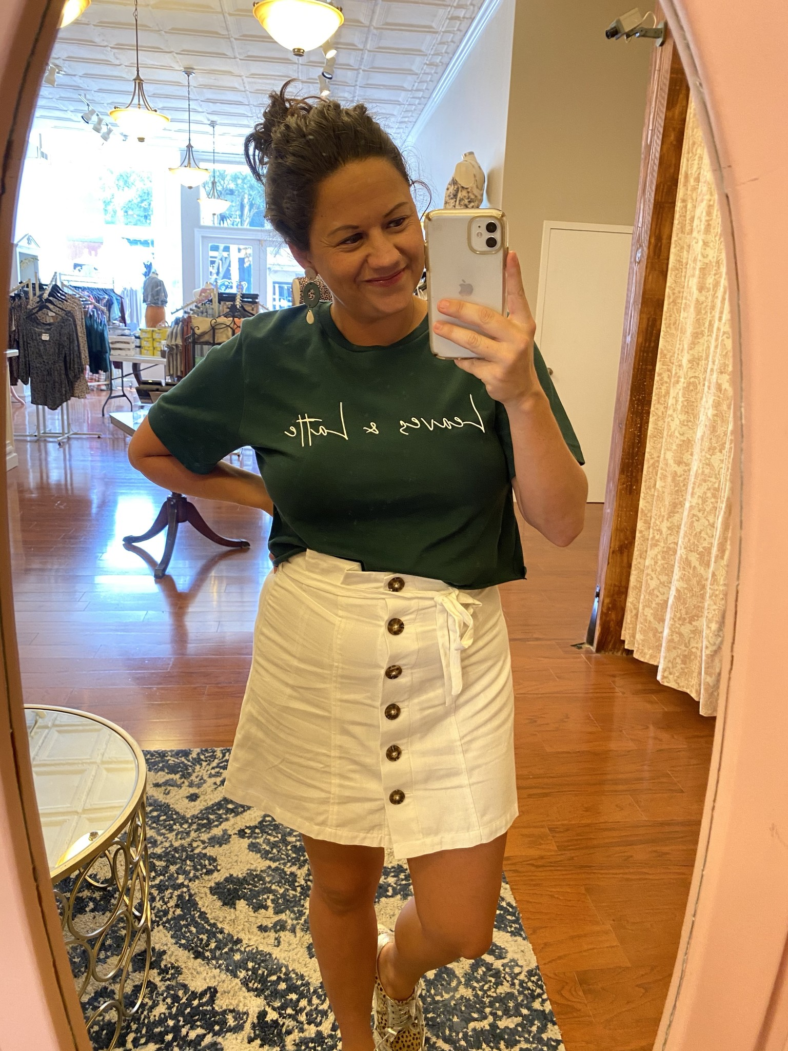 Hunter Green Leaves & Latte Graphic Cropped Tee