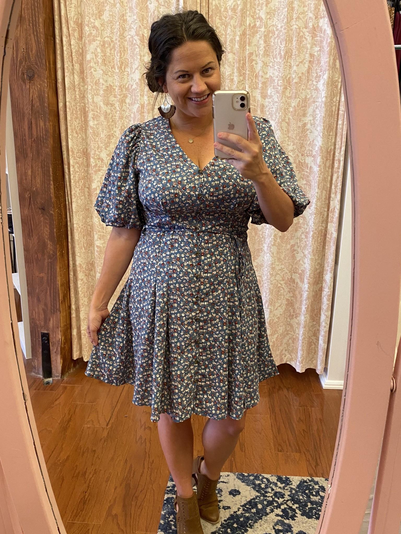 Teal Puff Sleeve Floral Print Dress