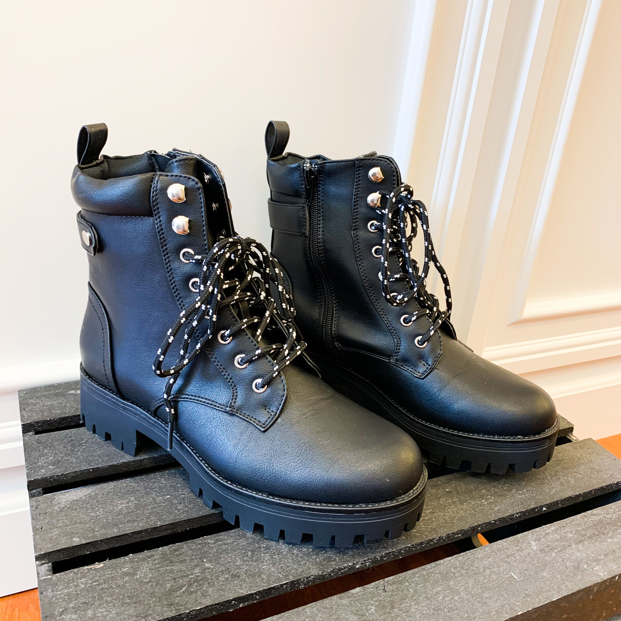 Bella Marie Black Lace Up Boots