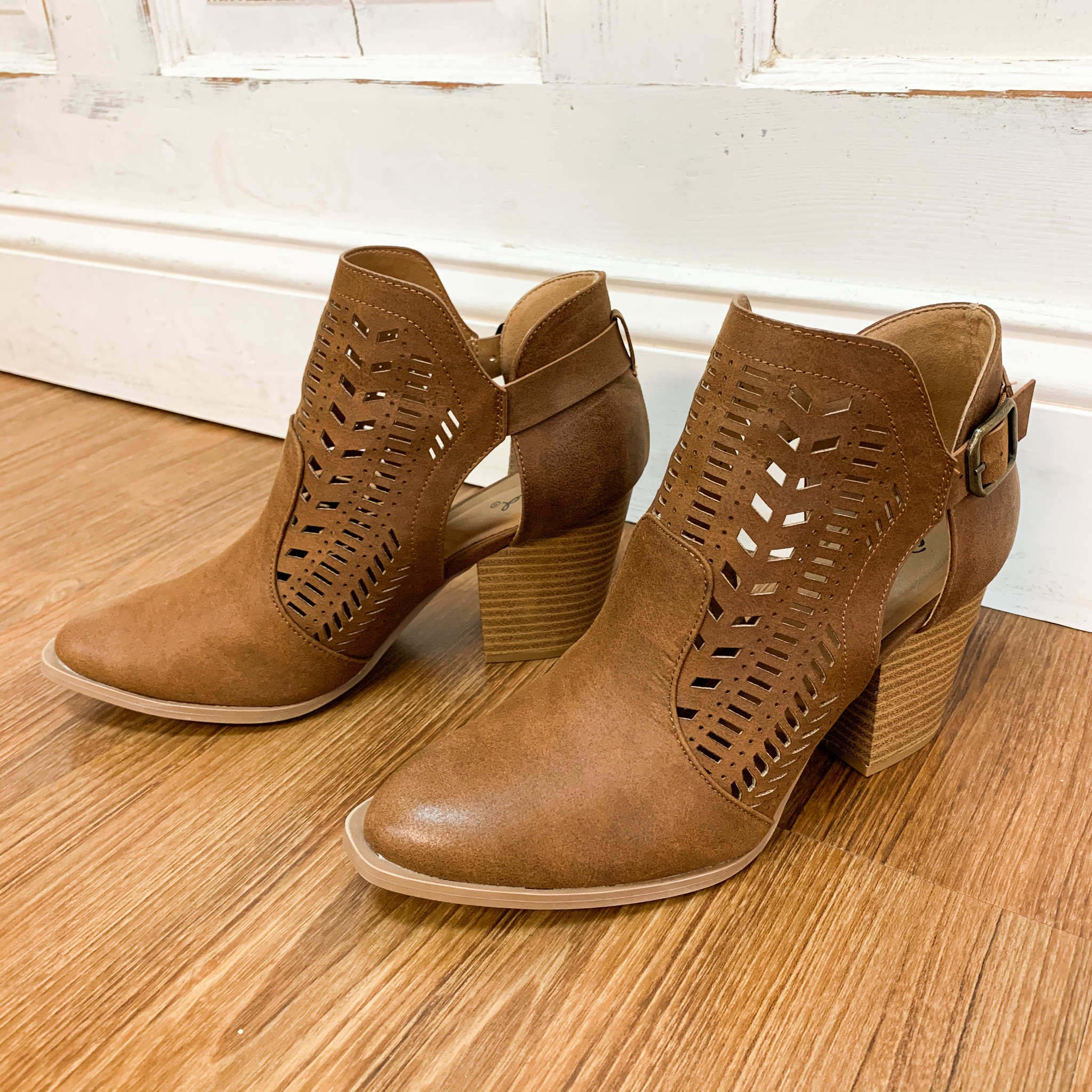 Qupid Maple Buckle Cut-Out Booties