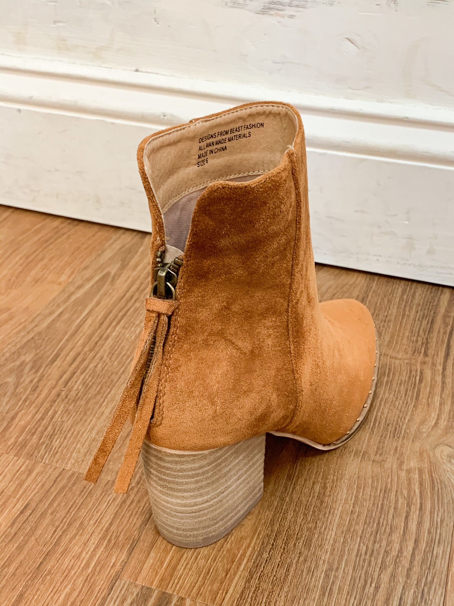 Beast Fashion Camel Back Zipper Ankle Bootie