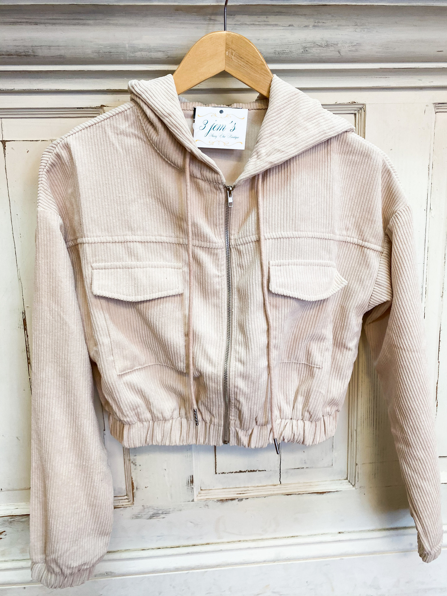 Blue Blush Cream Corduroy Cropped Hoodie Jacket