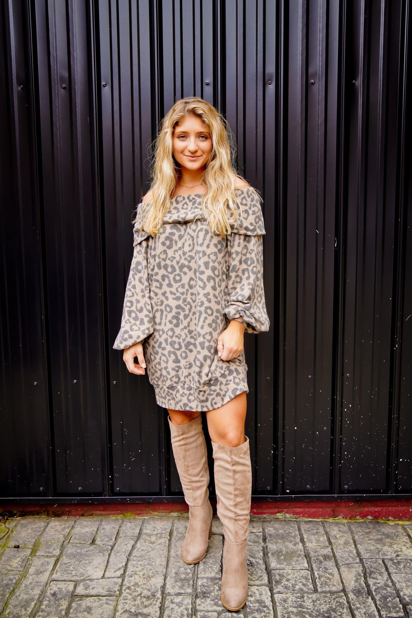 Camel Leopard Off Shoulder Tunic Dress