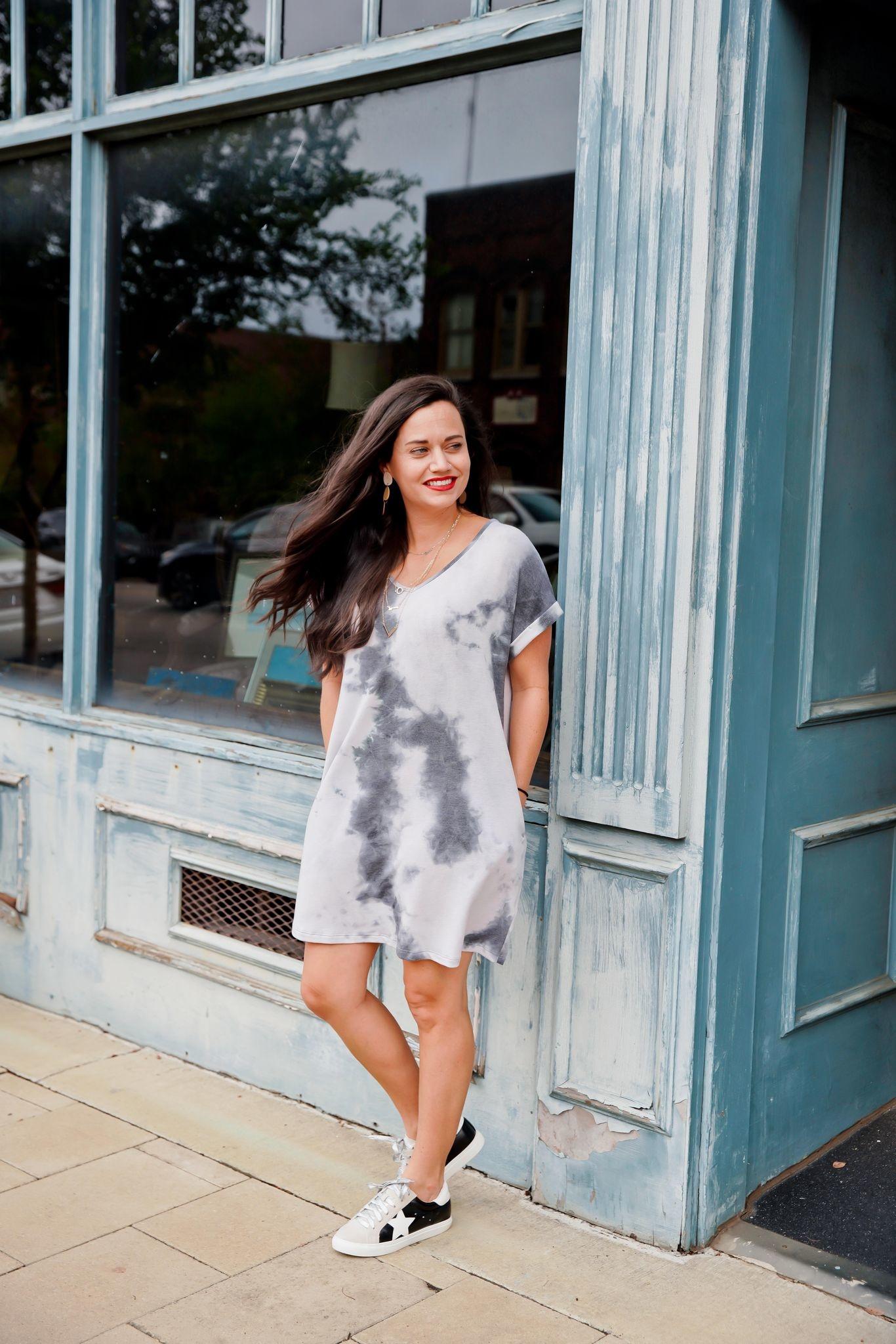 Charcoal Tie Dye Cuffed Sleeve Knit Dress