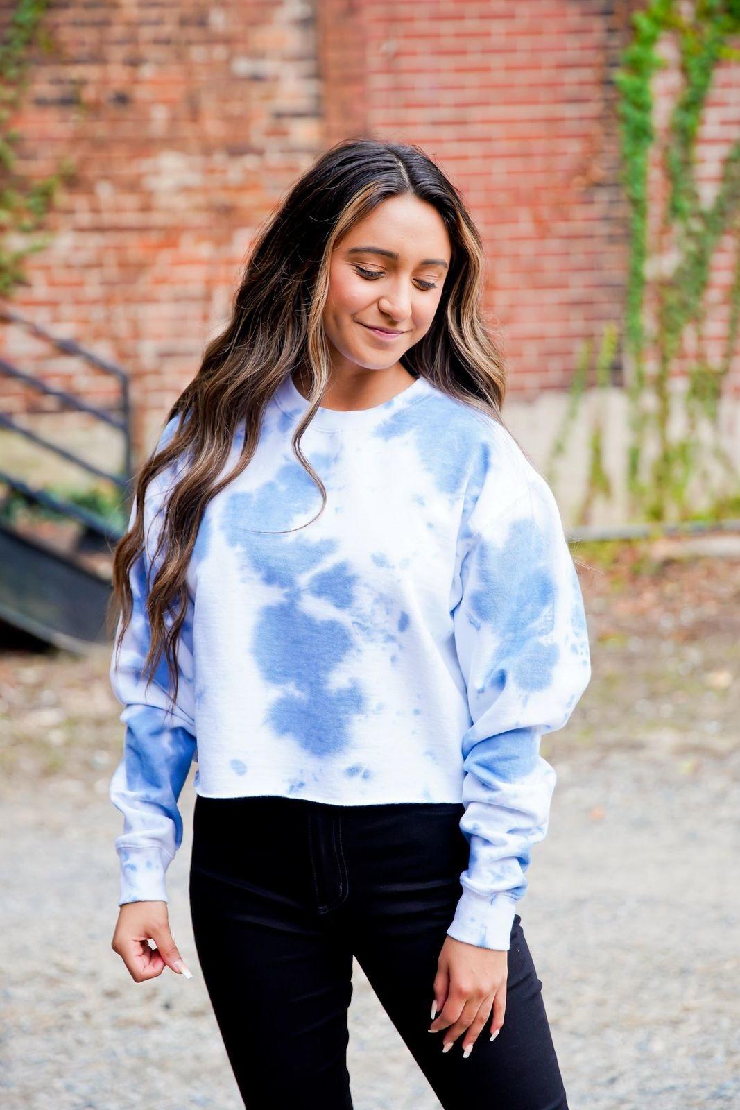 Navy Wash Tie Dye Cropped Sweatshirt