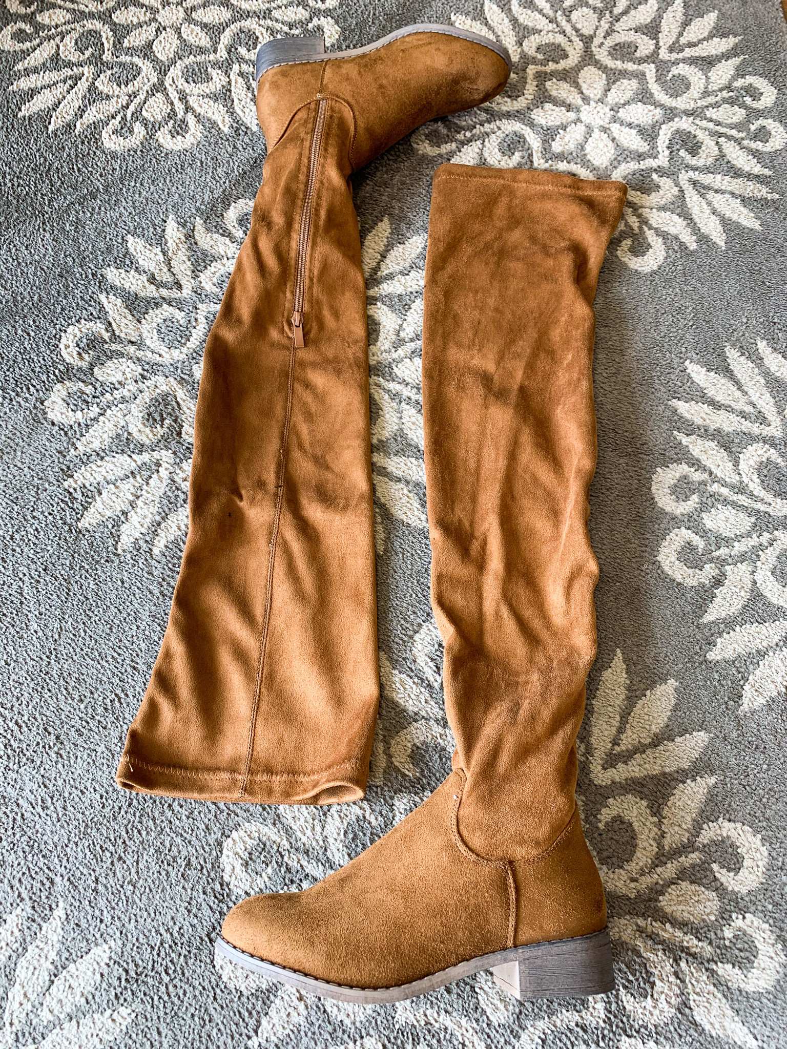 Nature Breeze Tan Flat Over The Knee Boots