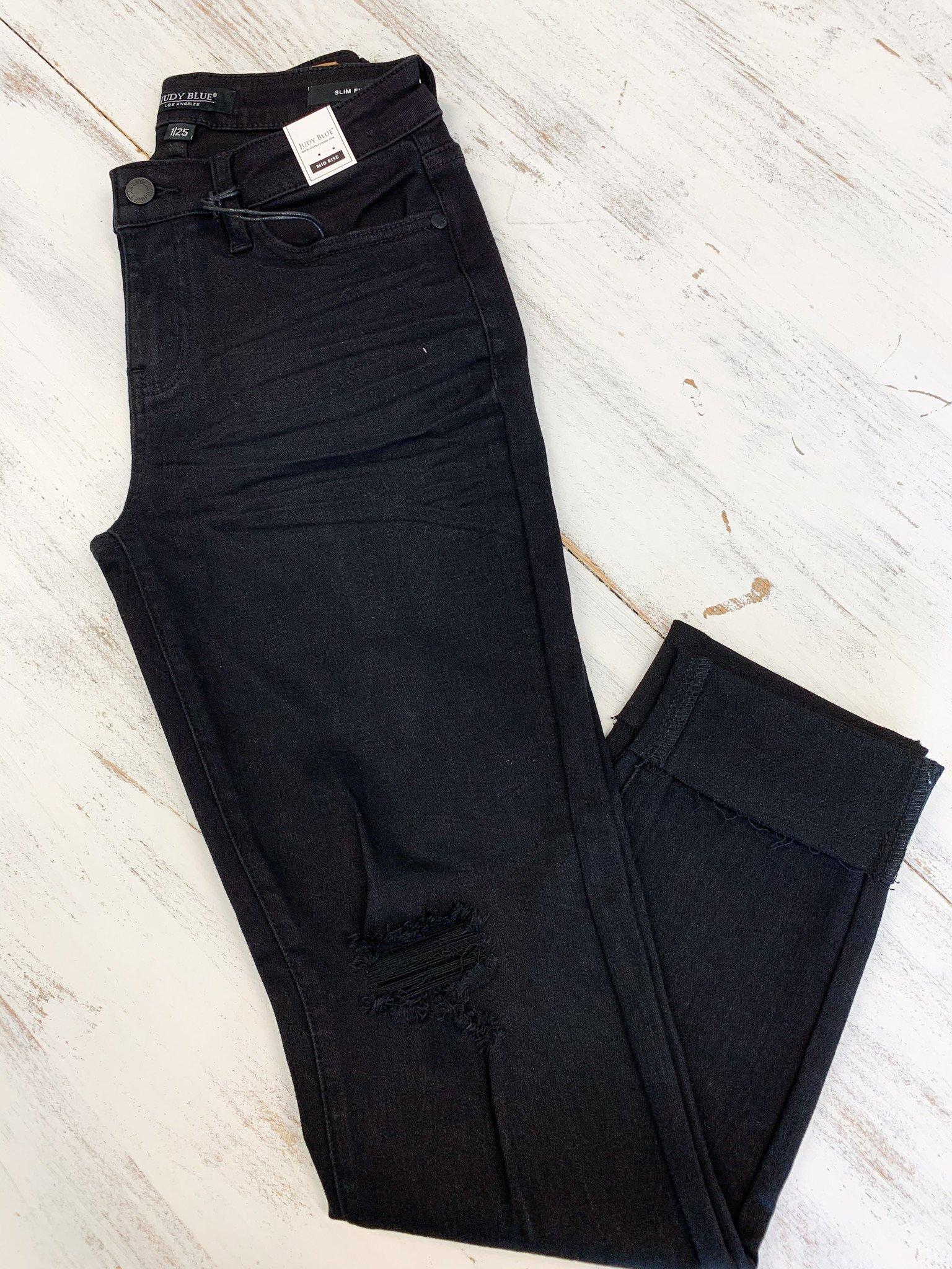 Black Mid-Rise Destroyed Slim Fit Jean