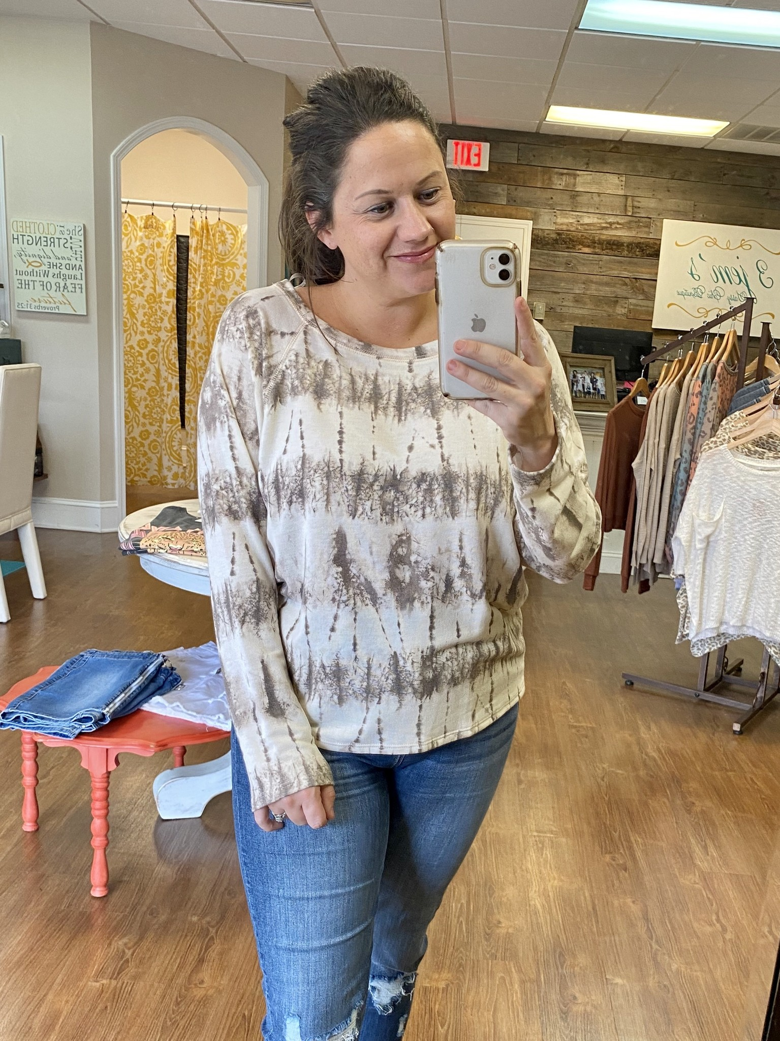 Ivory/Brown Printed Soft Long Sleeve Top