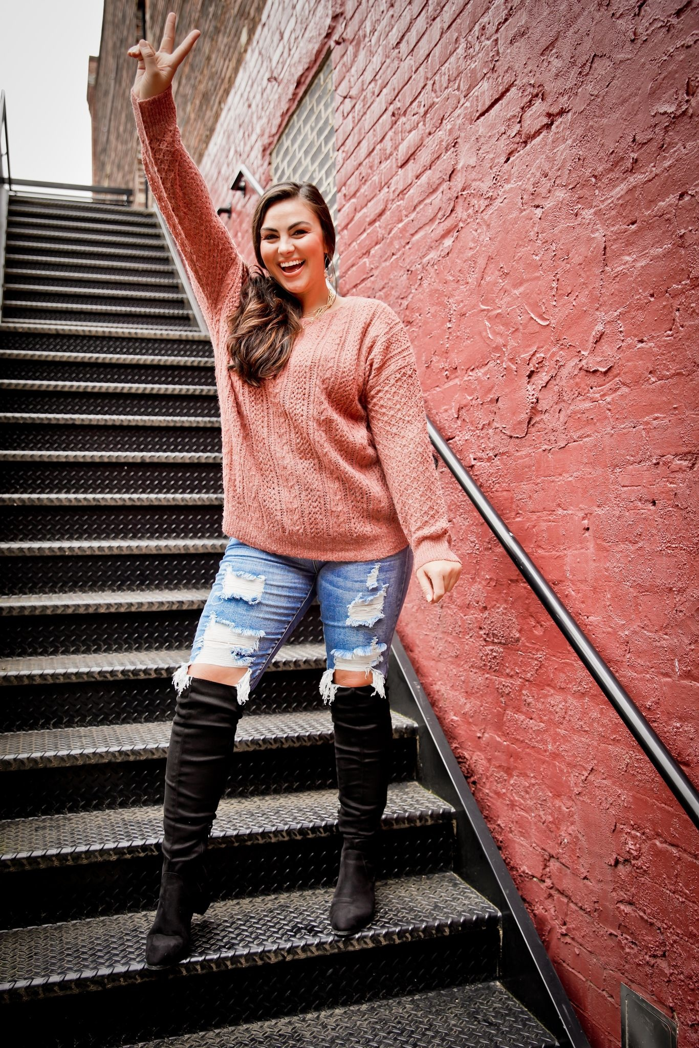 Ces Femme Marsala Sheer Cable Knit Sweater