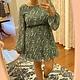Green Printed Long Sleeve Dress