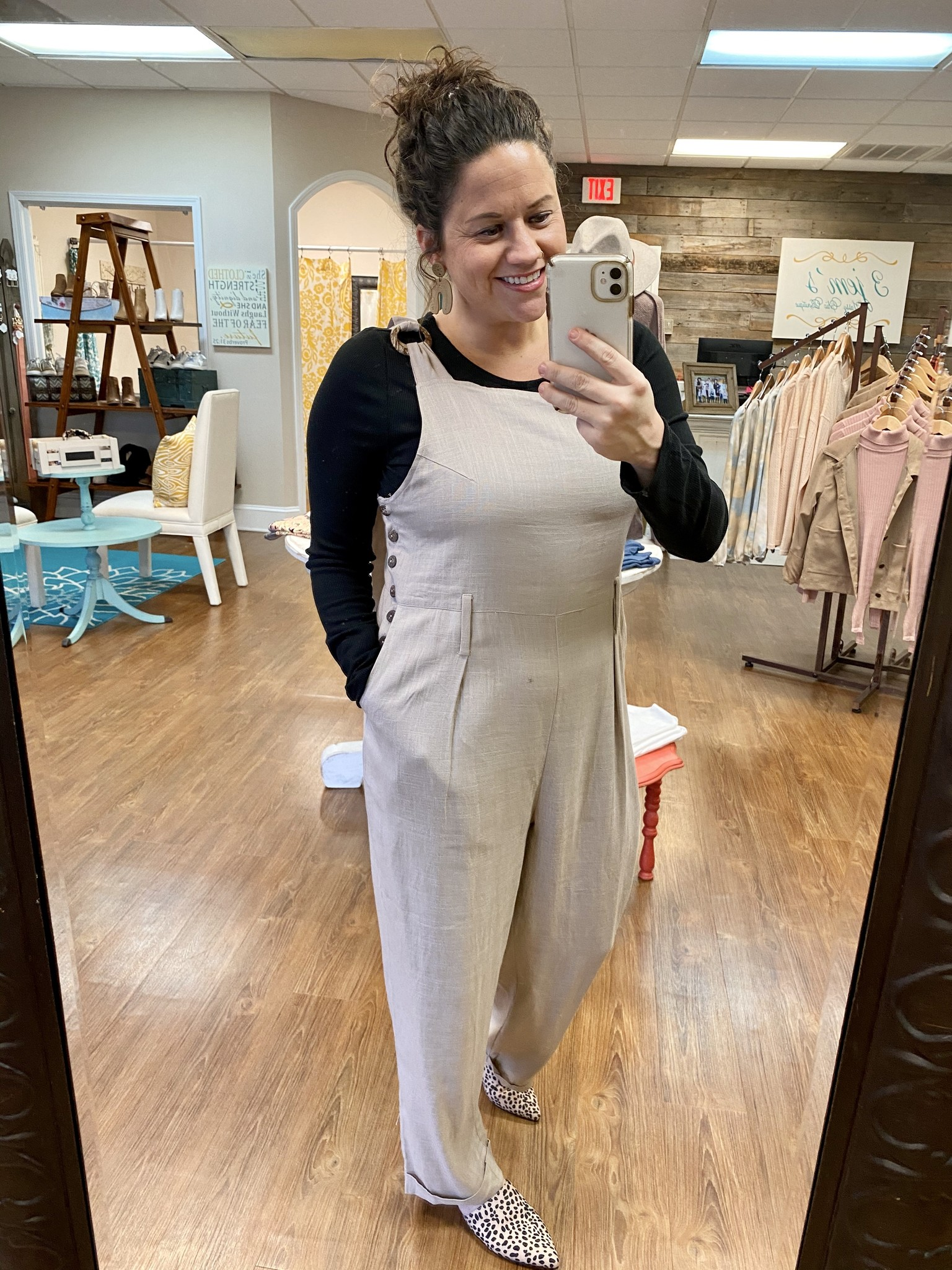 Taupe Linen Overalls