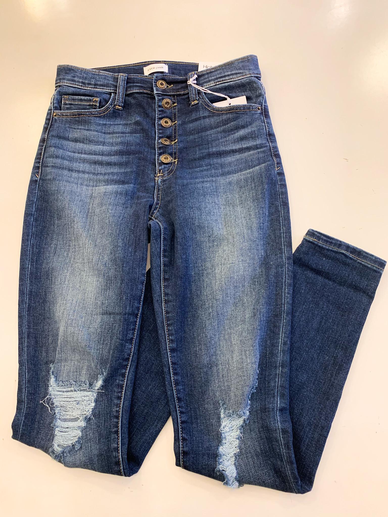 5 Button Dark High Rise Distressed Skinny Jean