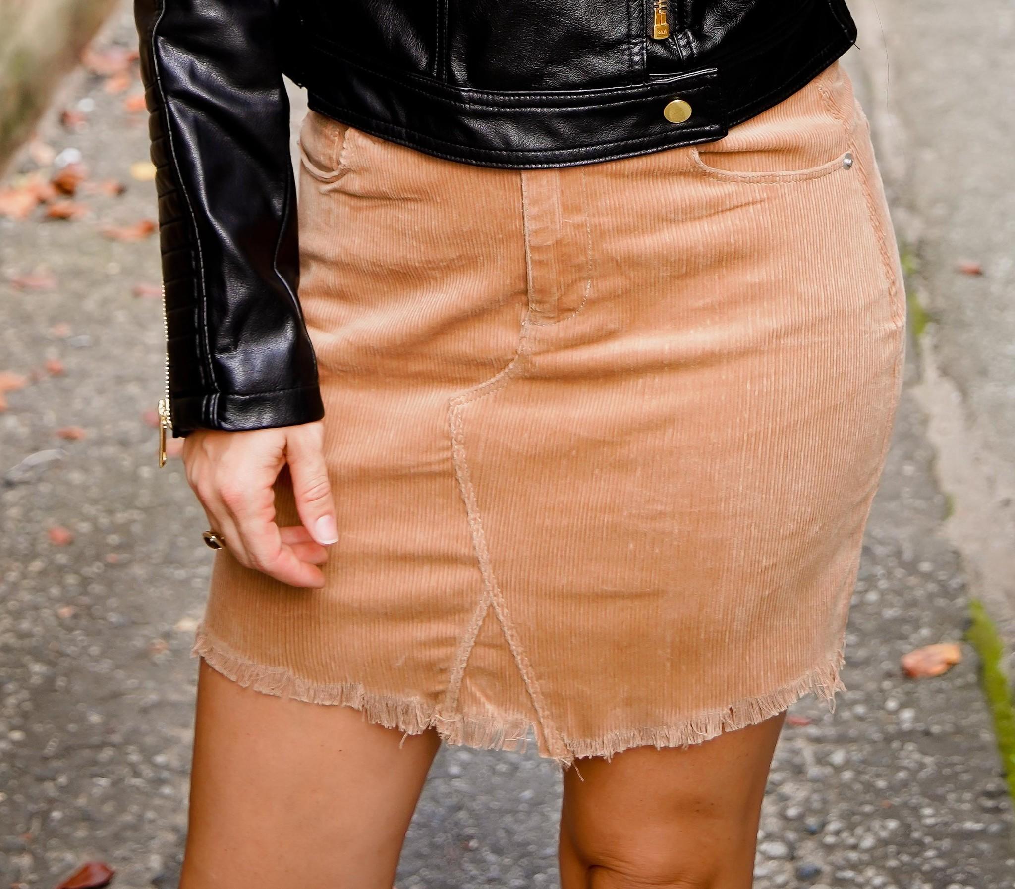 Camel Frayed Hem Corduroy Skirt