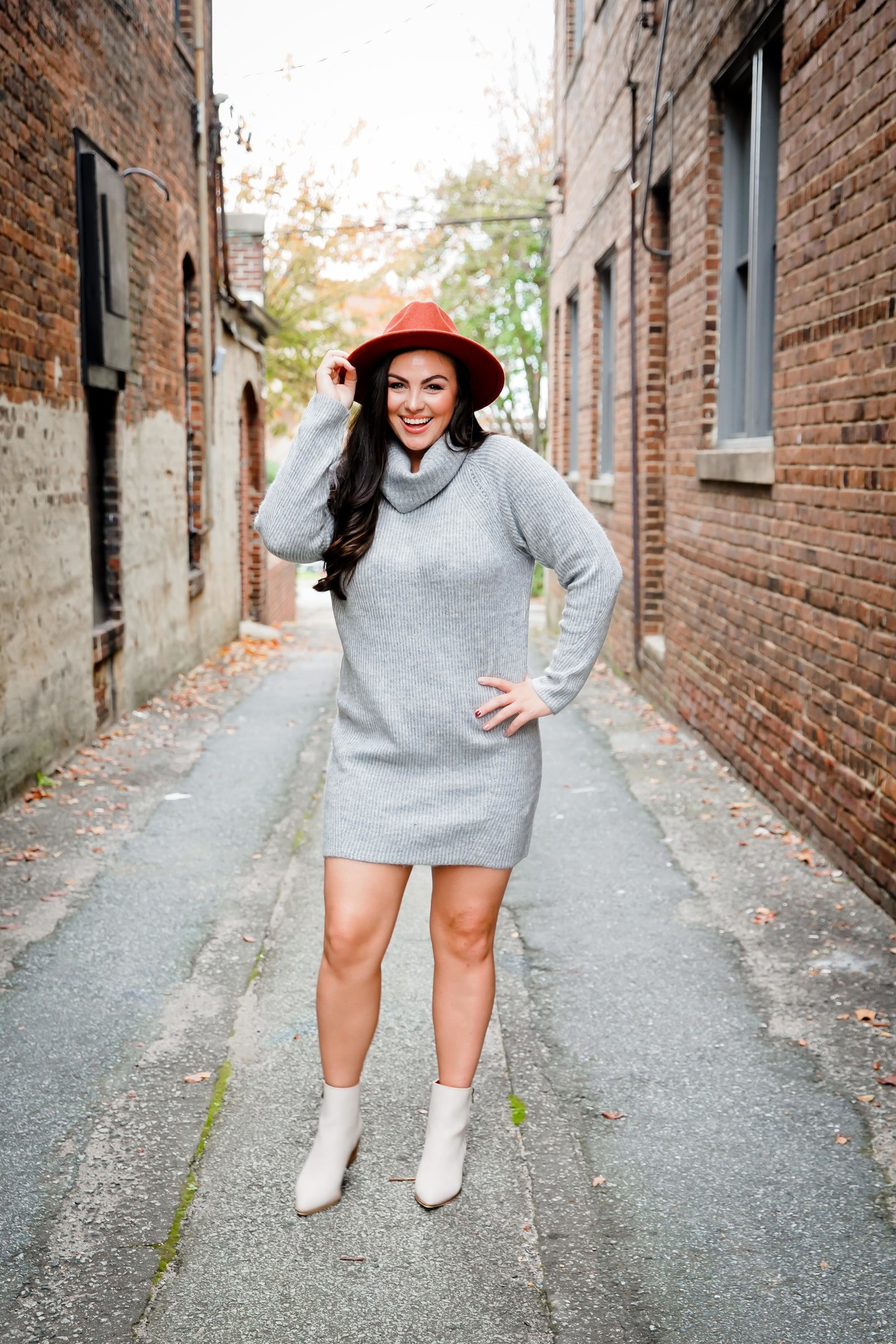 Light Grey Turtle Neck Sweater Dress