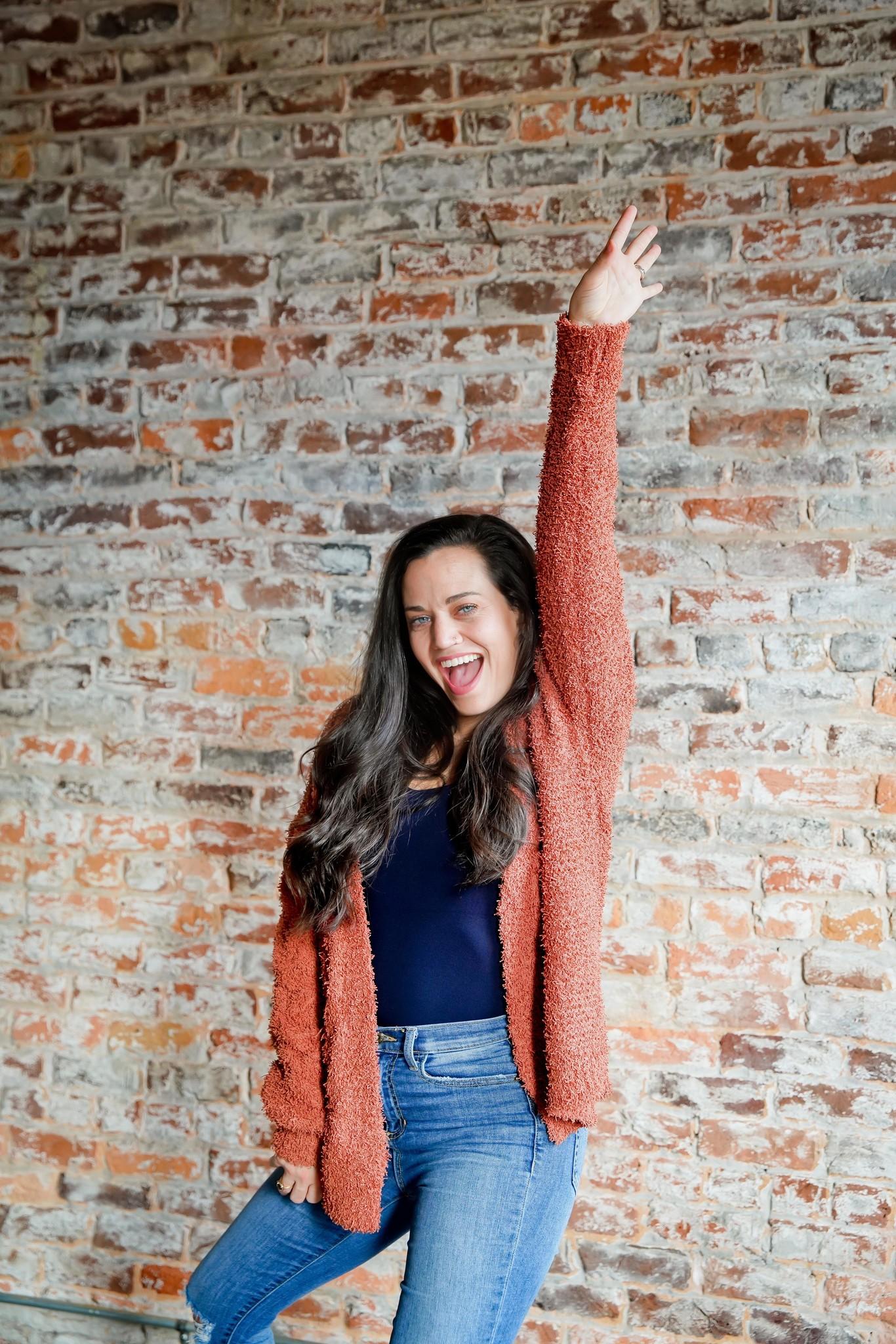 Rust Oversized Sweater Cardigan