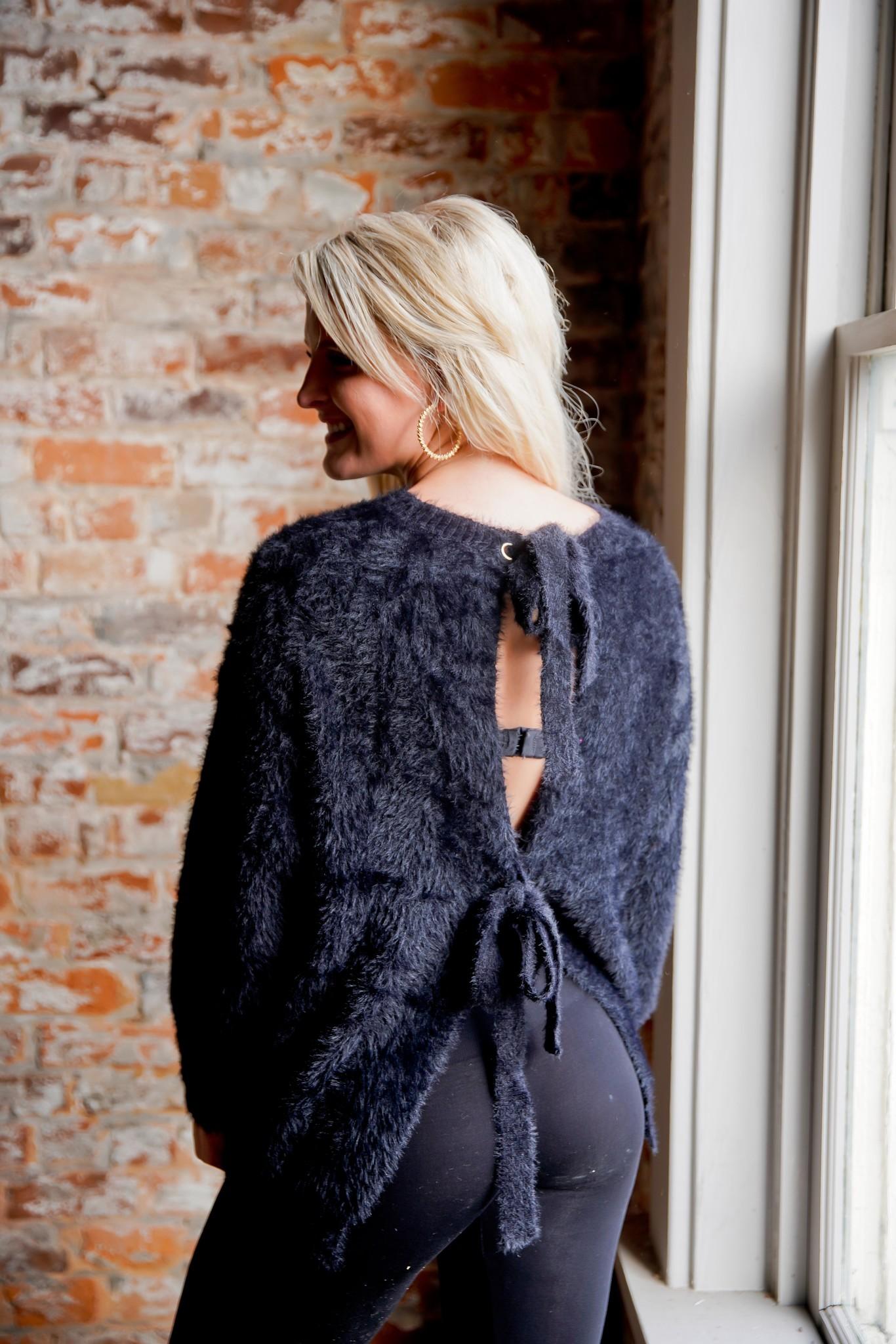 Faux Fur Open Back Tie Sweater
