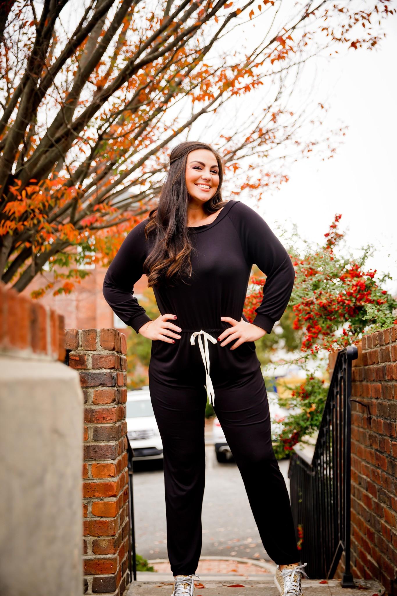 Black Off Shoulder Drawstring Jumpsuit