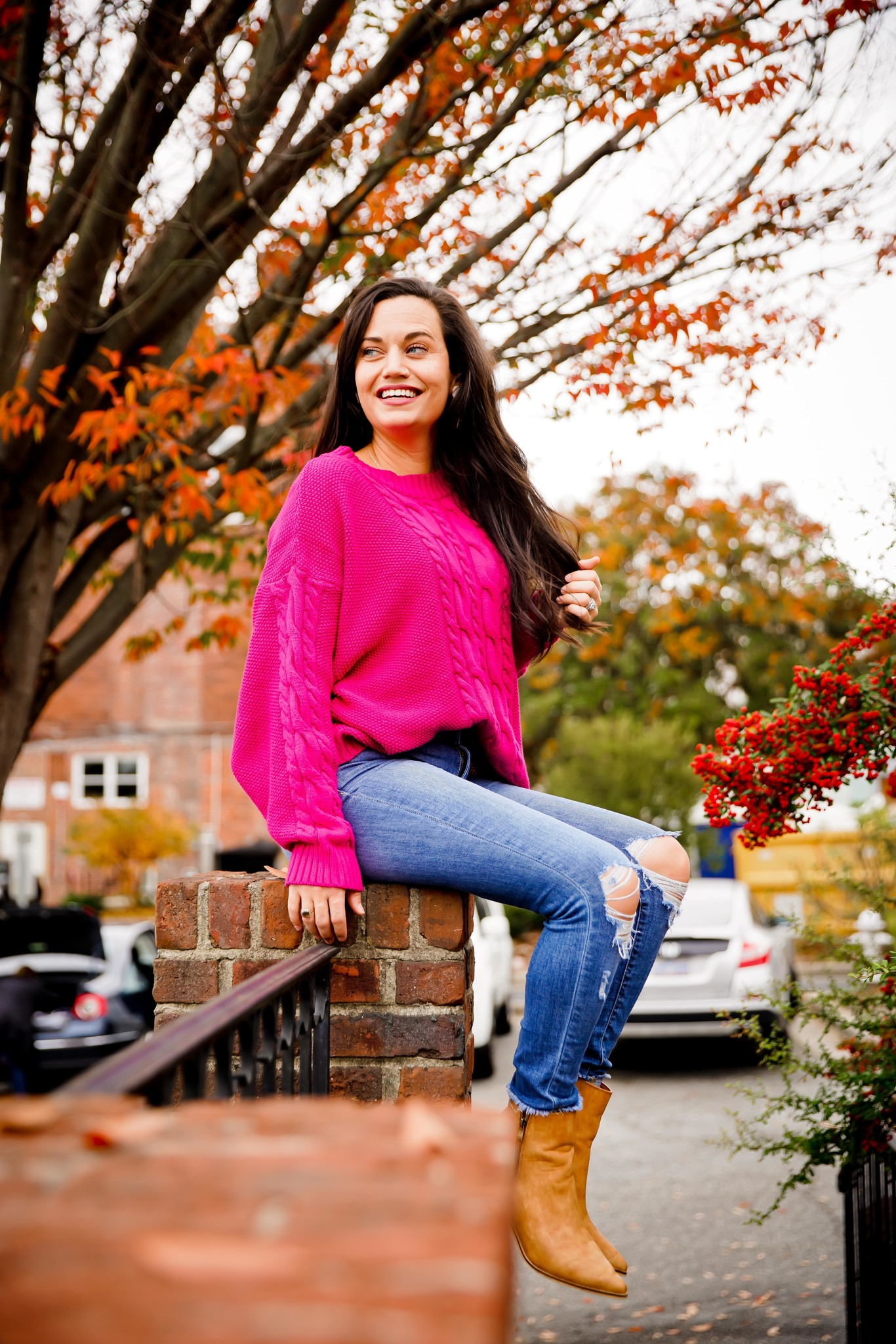 Hot Pink Cable Knit Sweater