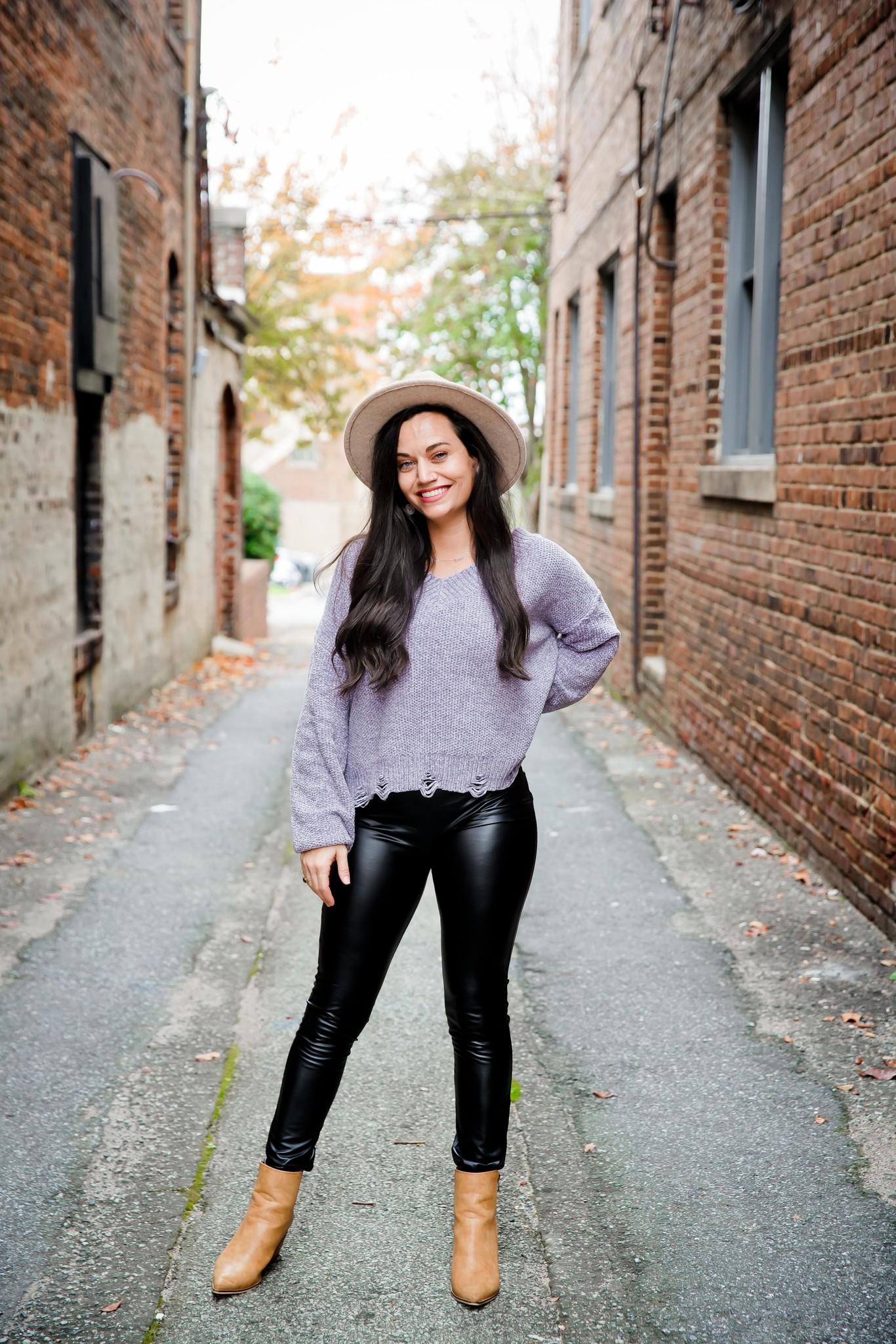 Heather Grey V-Neck Chenille Sweater