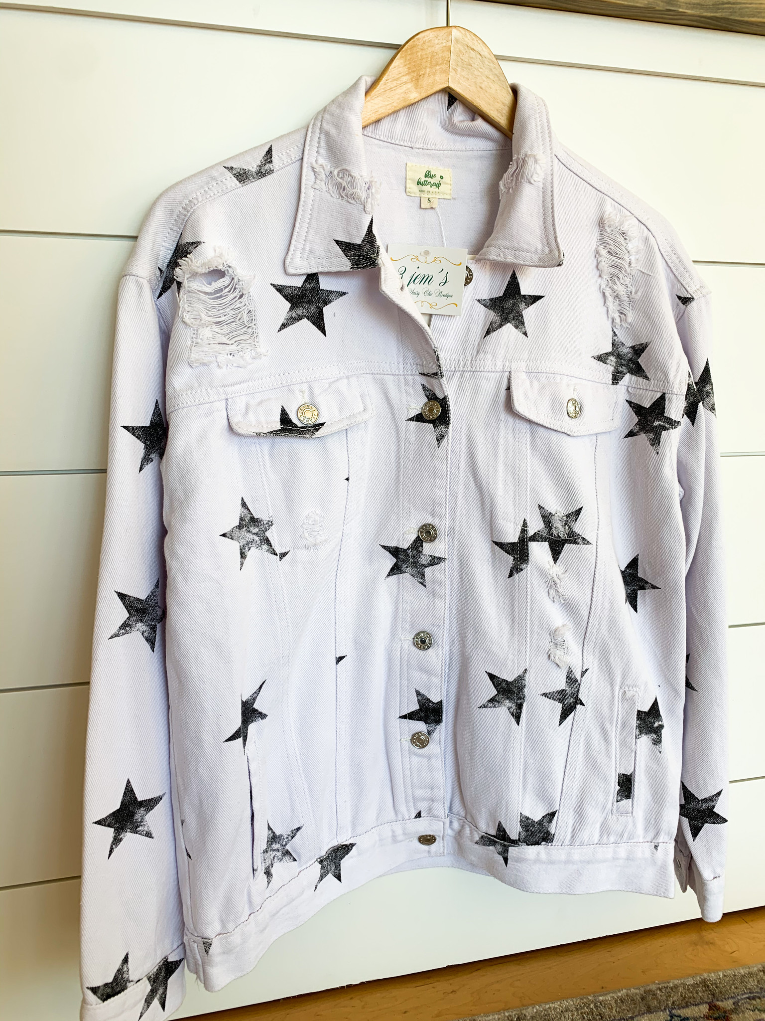 Blue Buttercup Off White Star Printed Denim Jacket