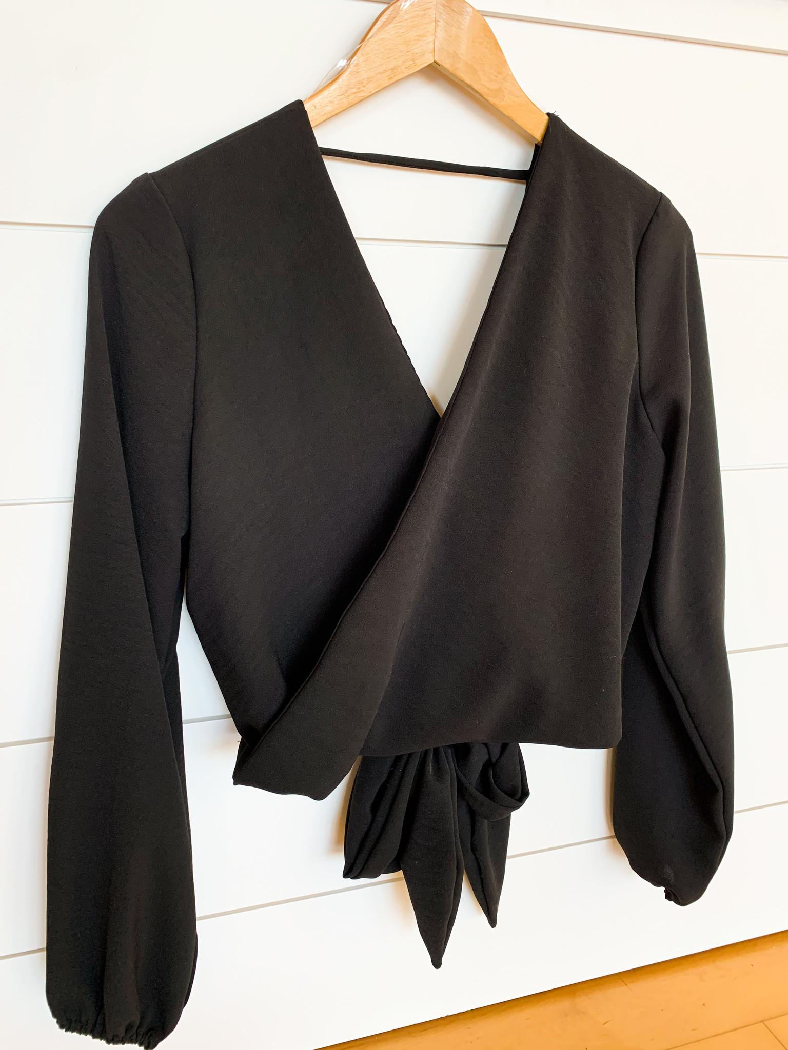 Black Back Bow Crop Top