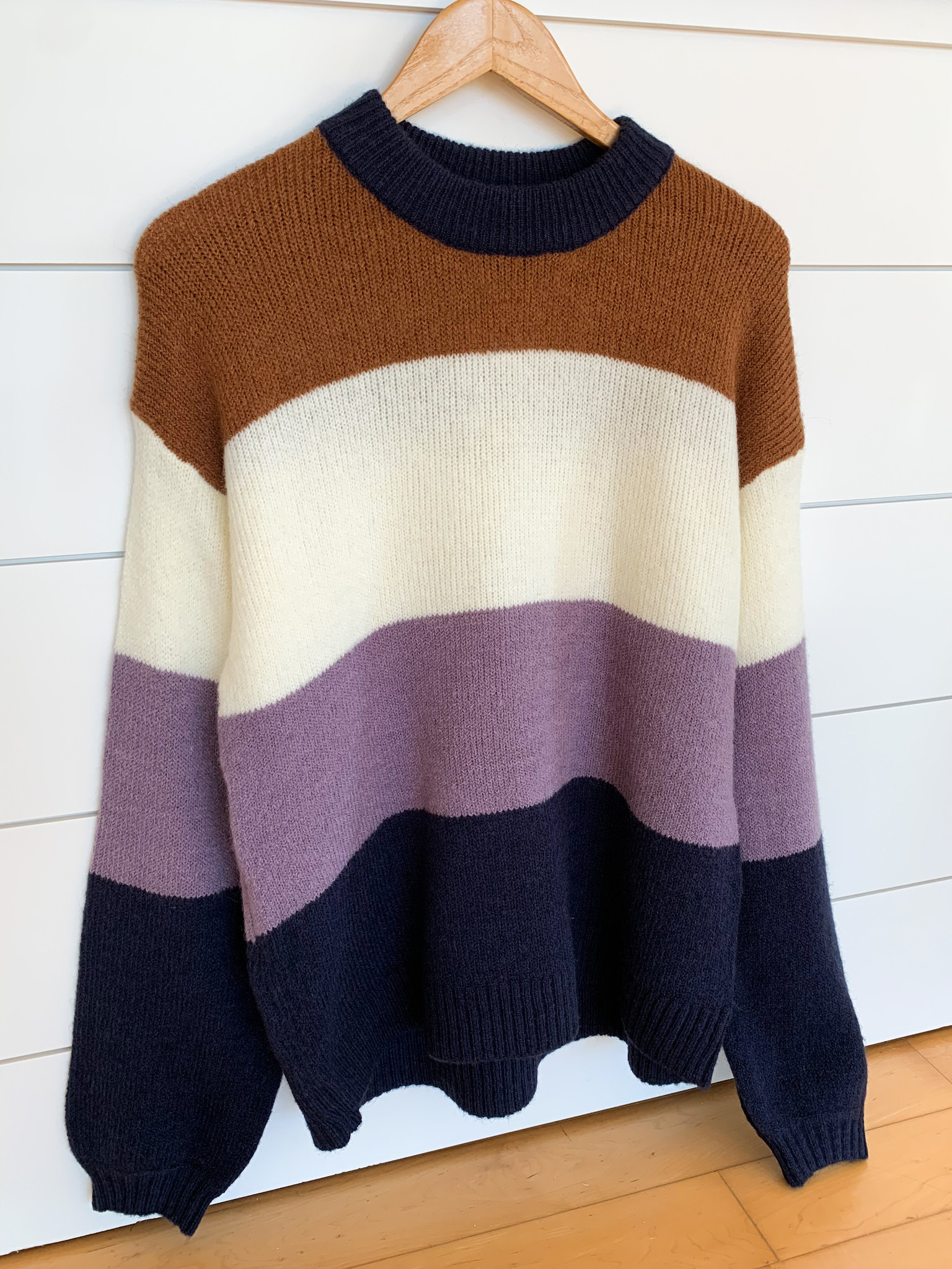 Style U Camel Ribbed Color Block Sweater