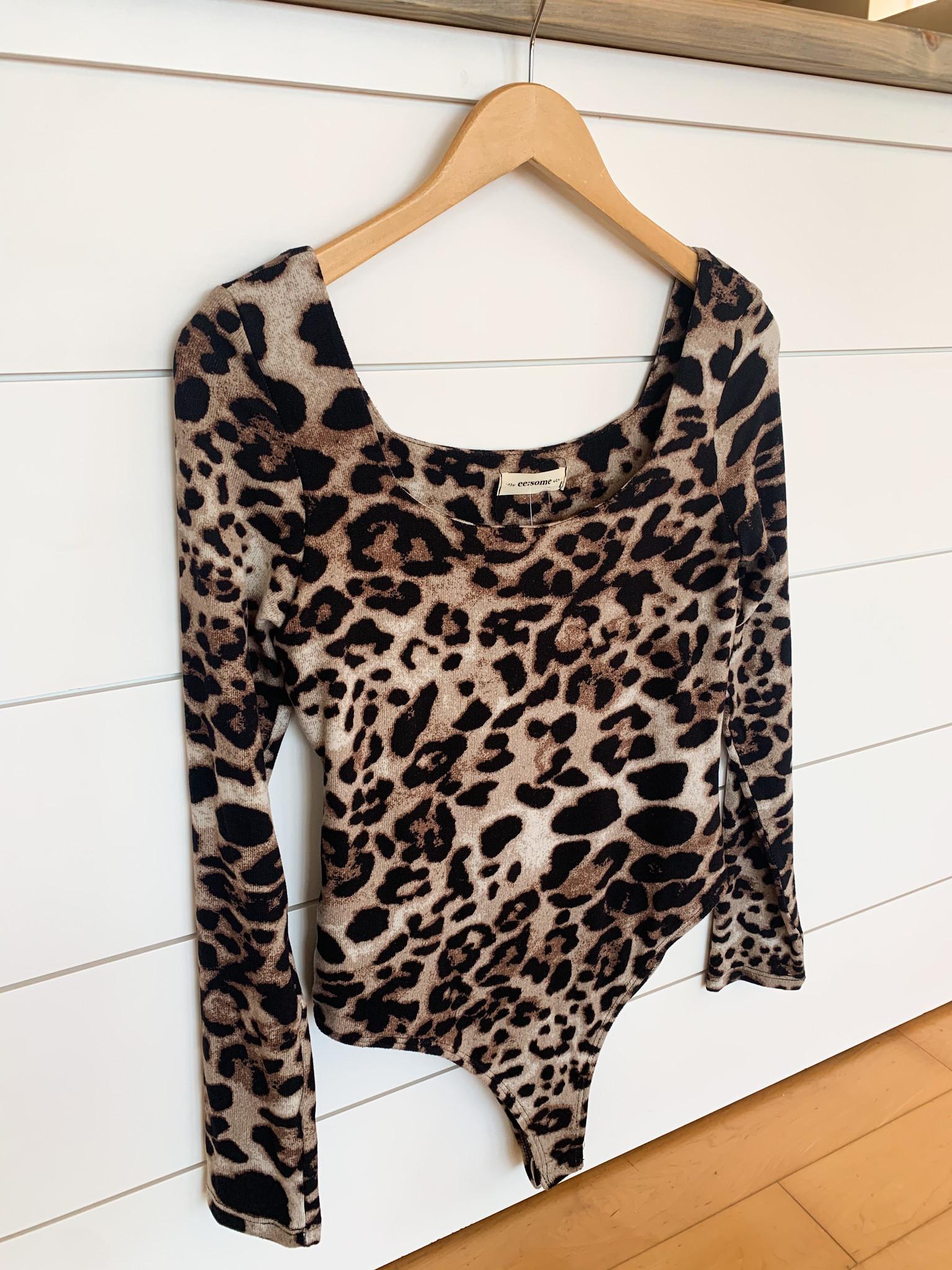 Brown Cheetah Print Long Sleeve Bodysuit