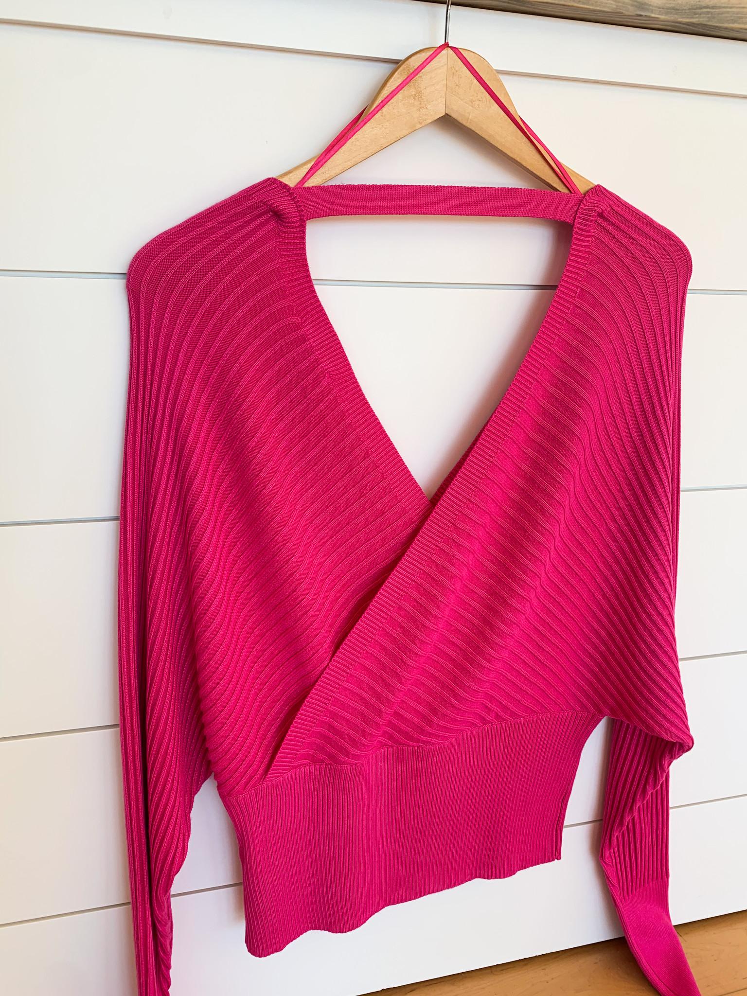 Hot Pink Open Back Surplice Top