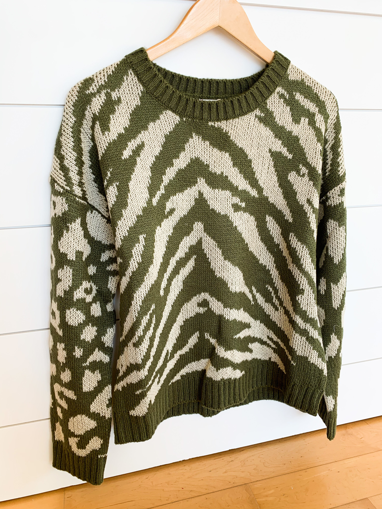 Olive/Ivory Animal Print Mix Sweater