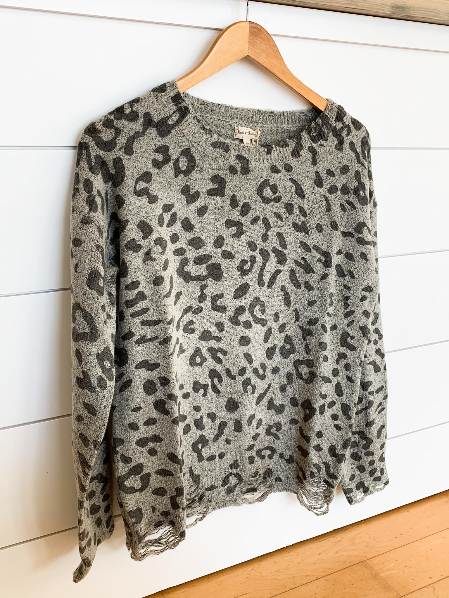 Grey Destroyed Hem Leopard Top