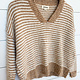 Taupe Stripe Fuzzy V-Neck Pullover Sweater