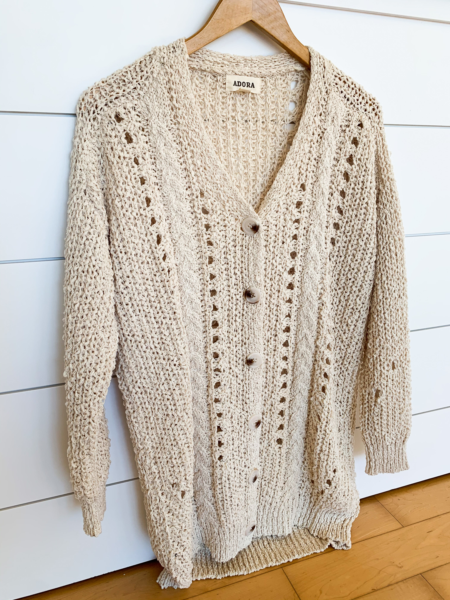 Ivory Cable Knit Button Down Cardigan